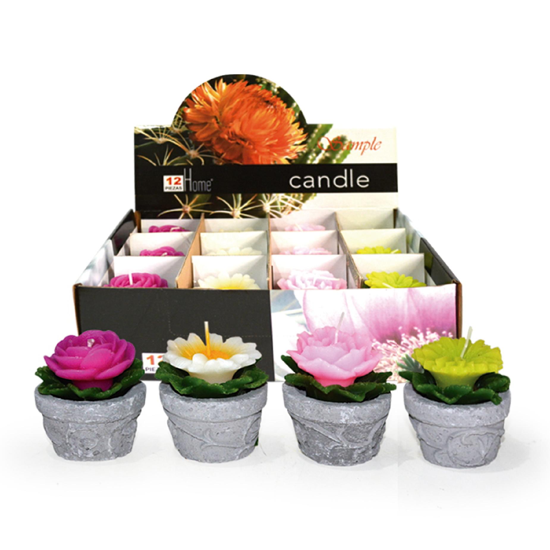 Conjunto com 12 velas Flores