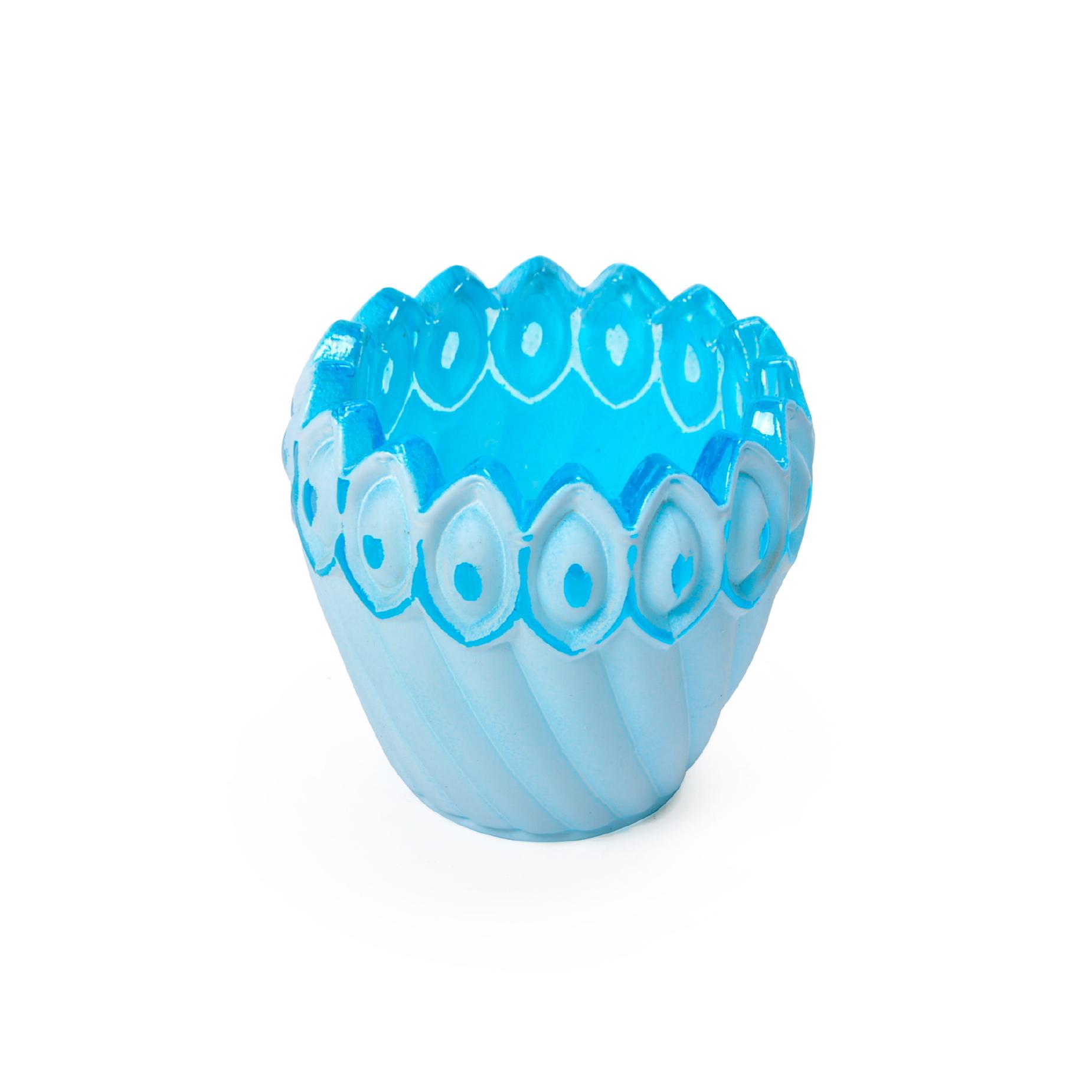 Porta vela de vidro Azul
