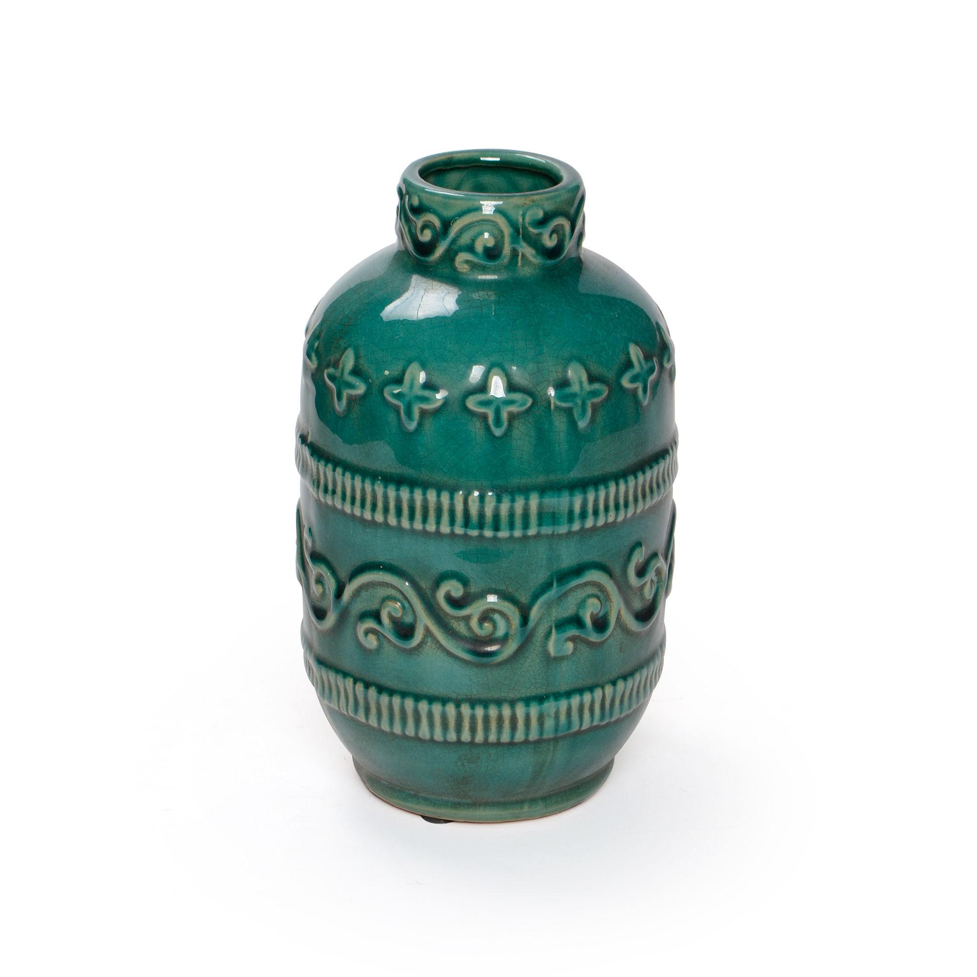 Vaso de cerâmica com detalhes de arabesco Pequeno