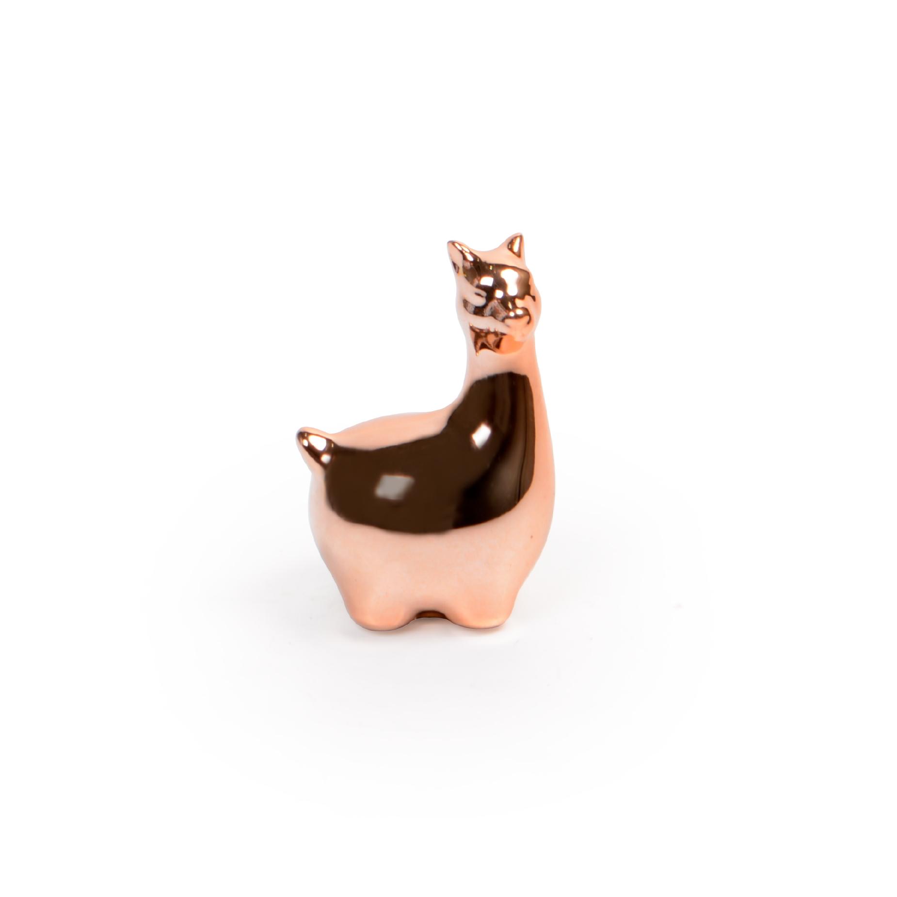 Mini Lhama de cerâmica Rose Gold