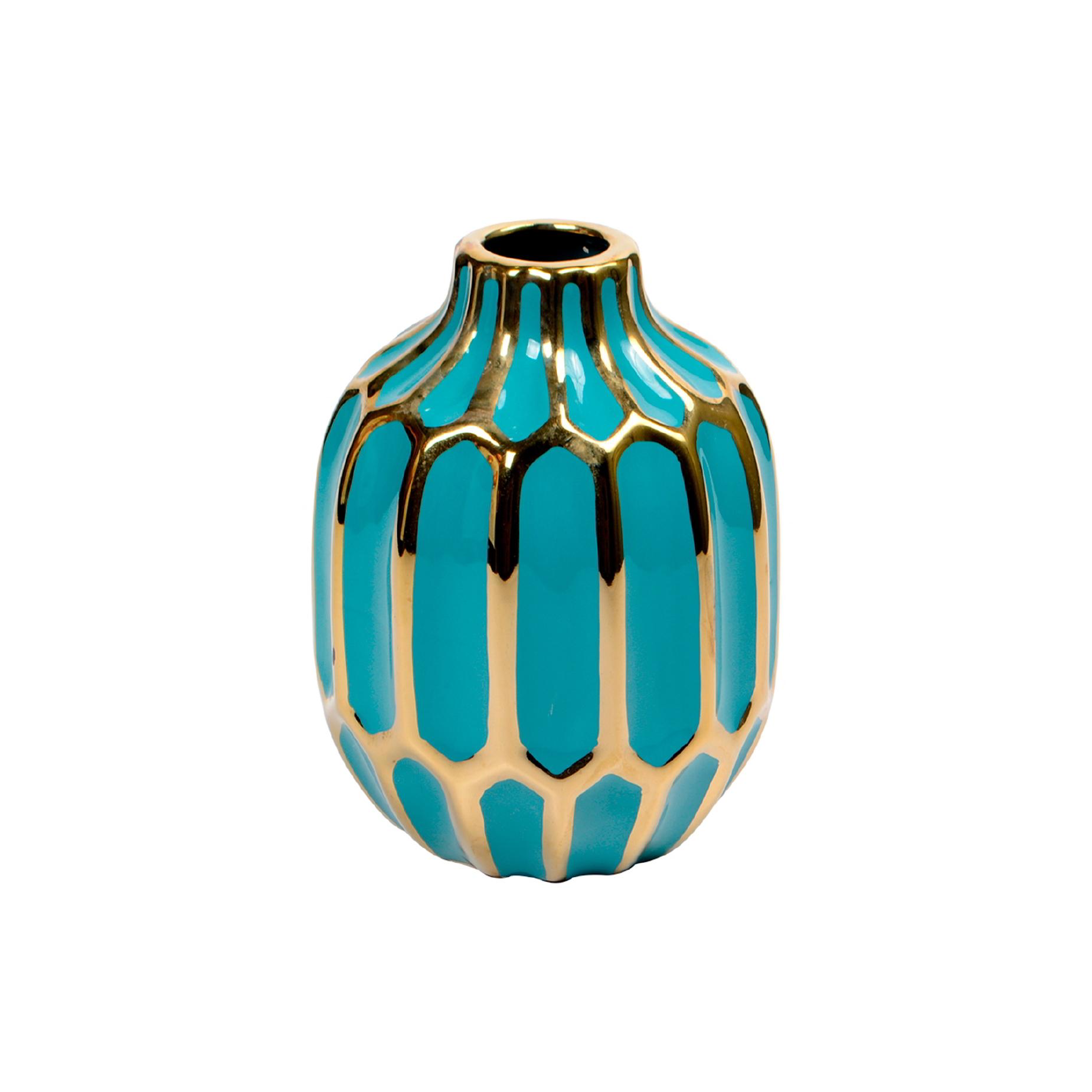 Vaso de cerâmica Verde e Dourado