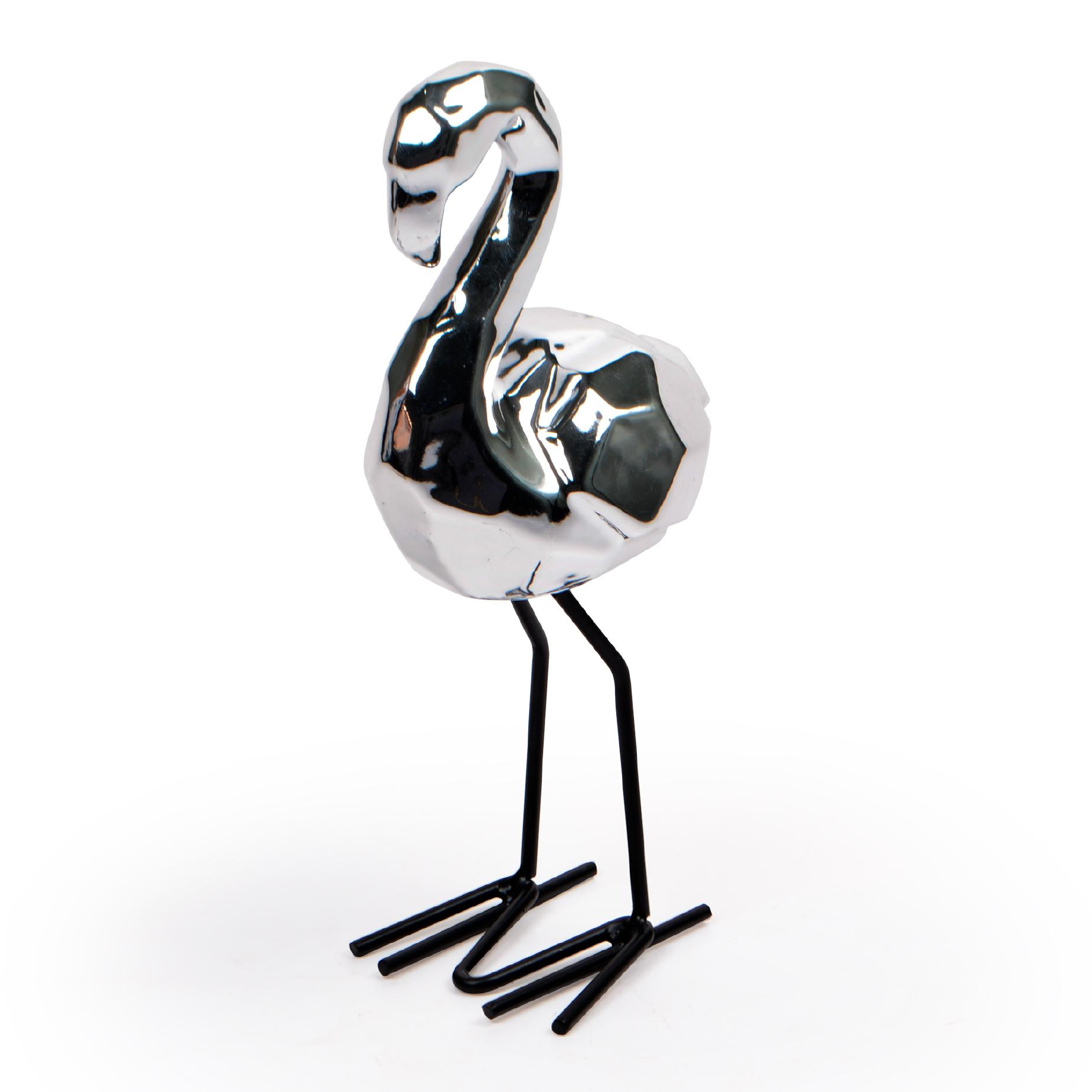 Escultura de Flamingo Prata