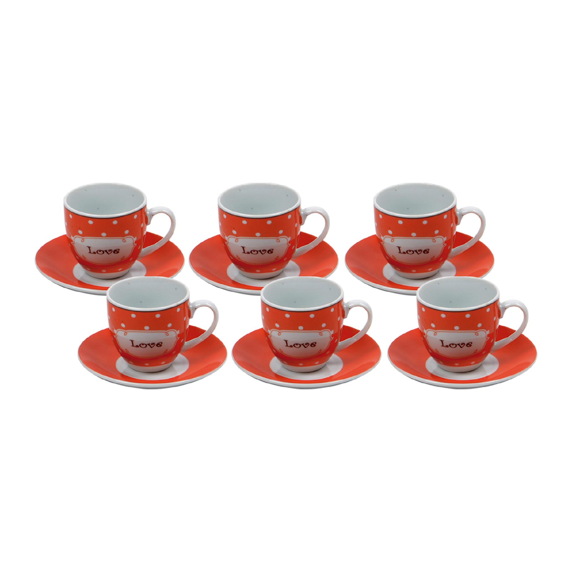 Jogo de xícaras de Chá Love Vermelho