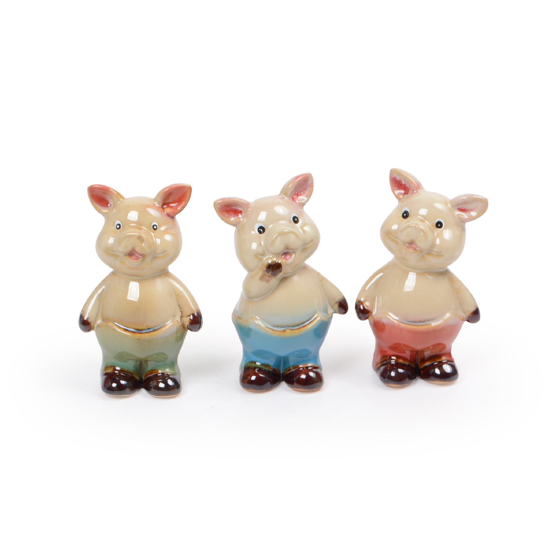 Conjunto 03 Porcos de cerâmica decorativo