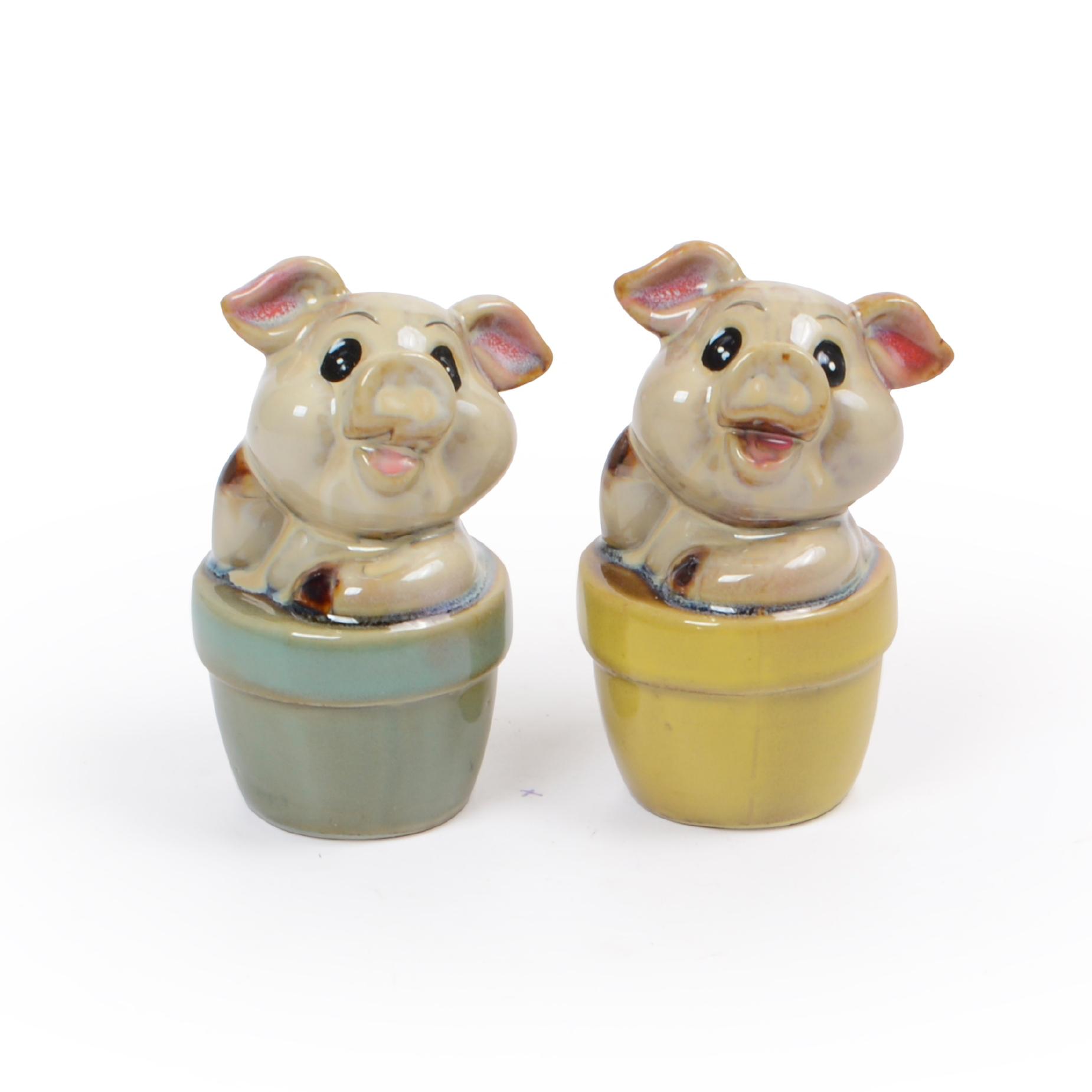 Conjunto 02 Porcos de cerâmica decorativo