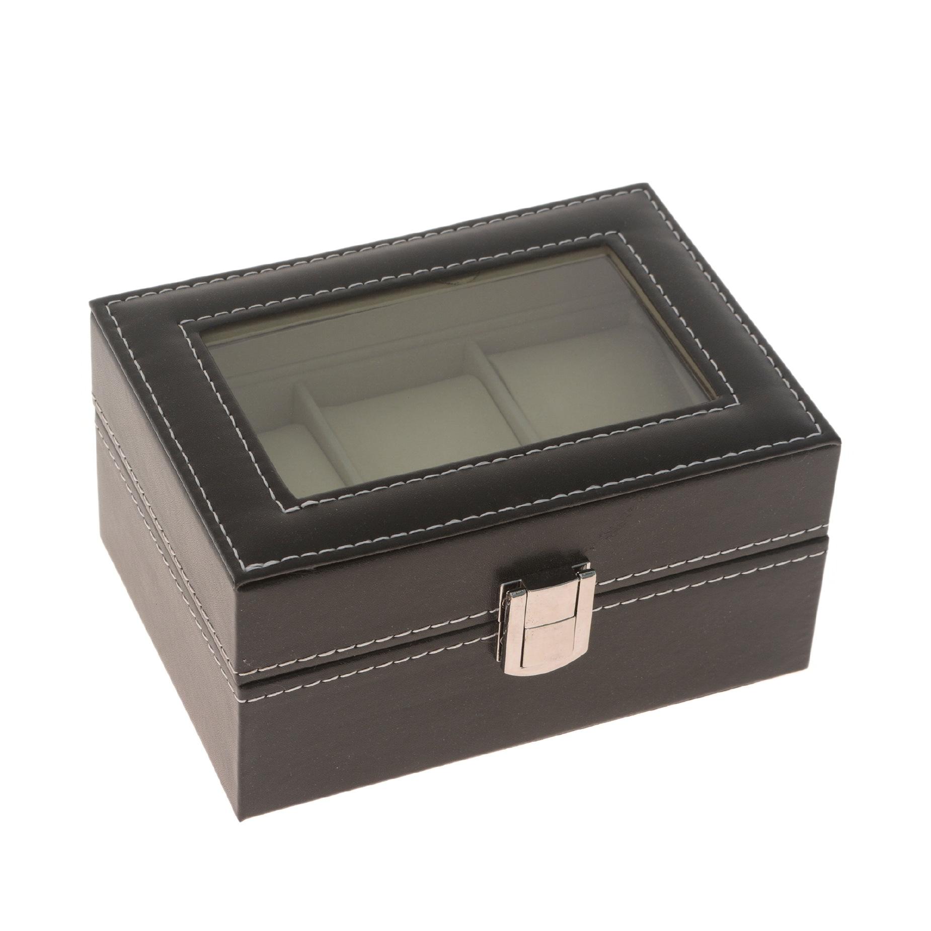 Caixa porta relógios de couro e tecido