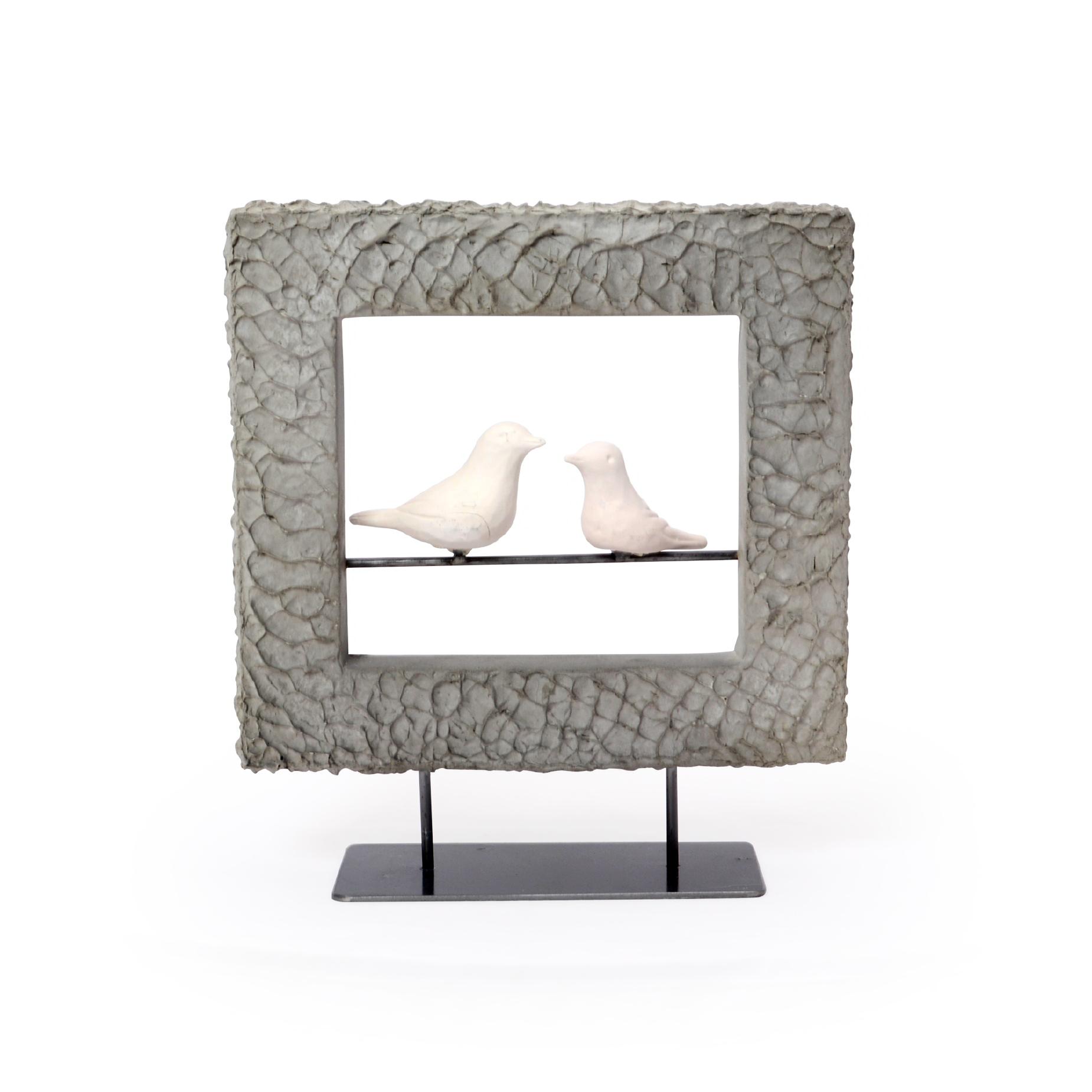 Escultura de Concreto com 2 pássaros