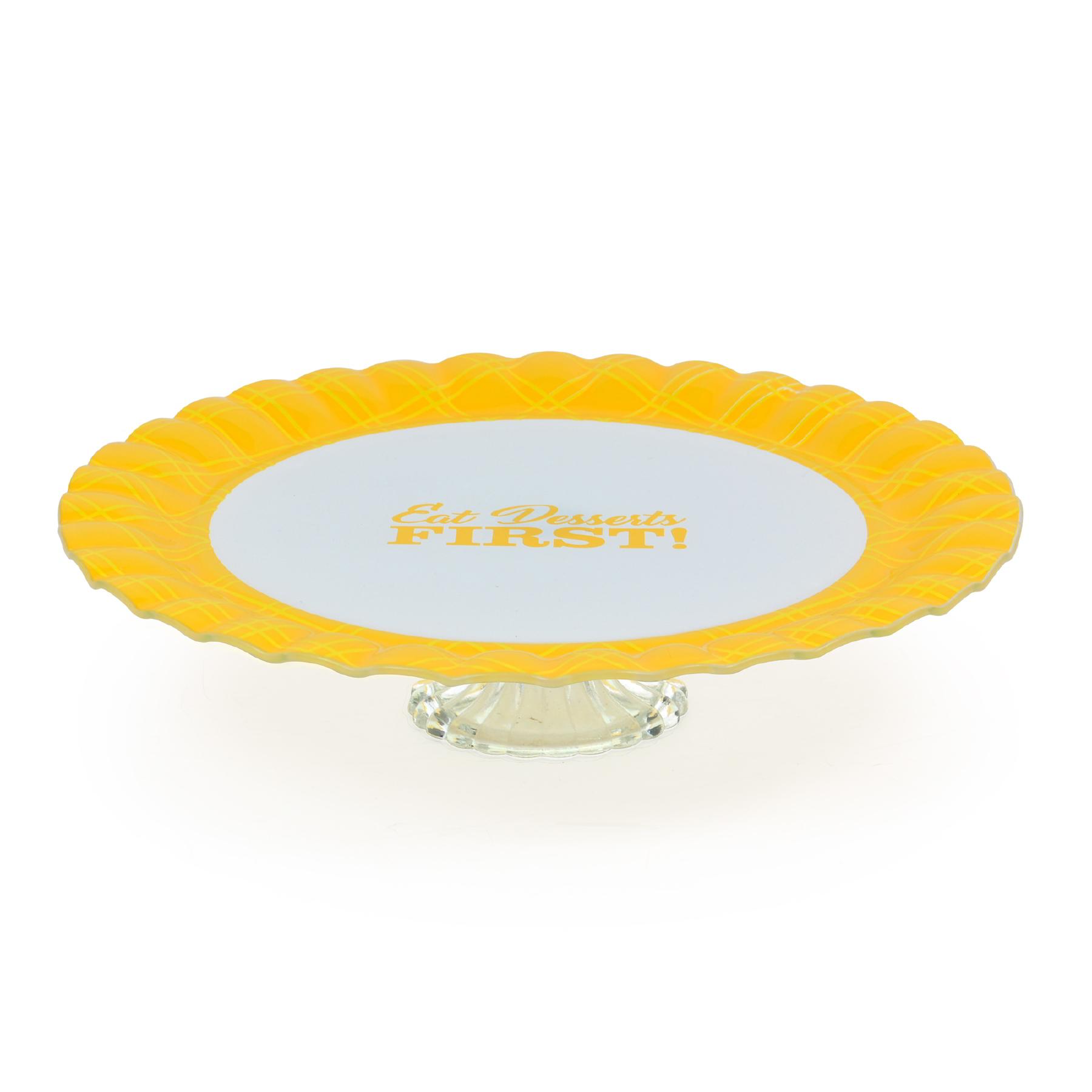 Prato para bolo com pé de vidro Cake Amarelo
