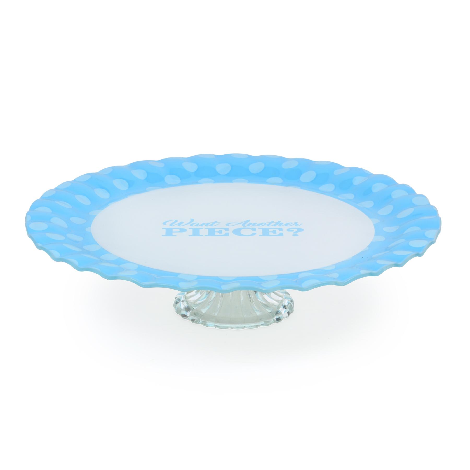 Prato para bolo com pé de vidro Cake Azul