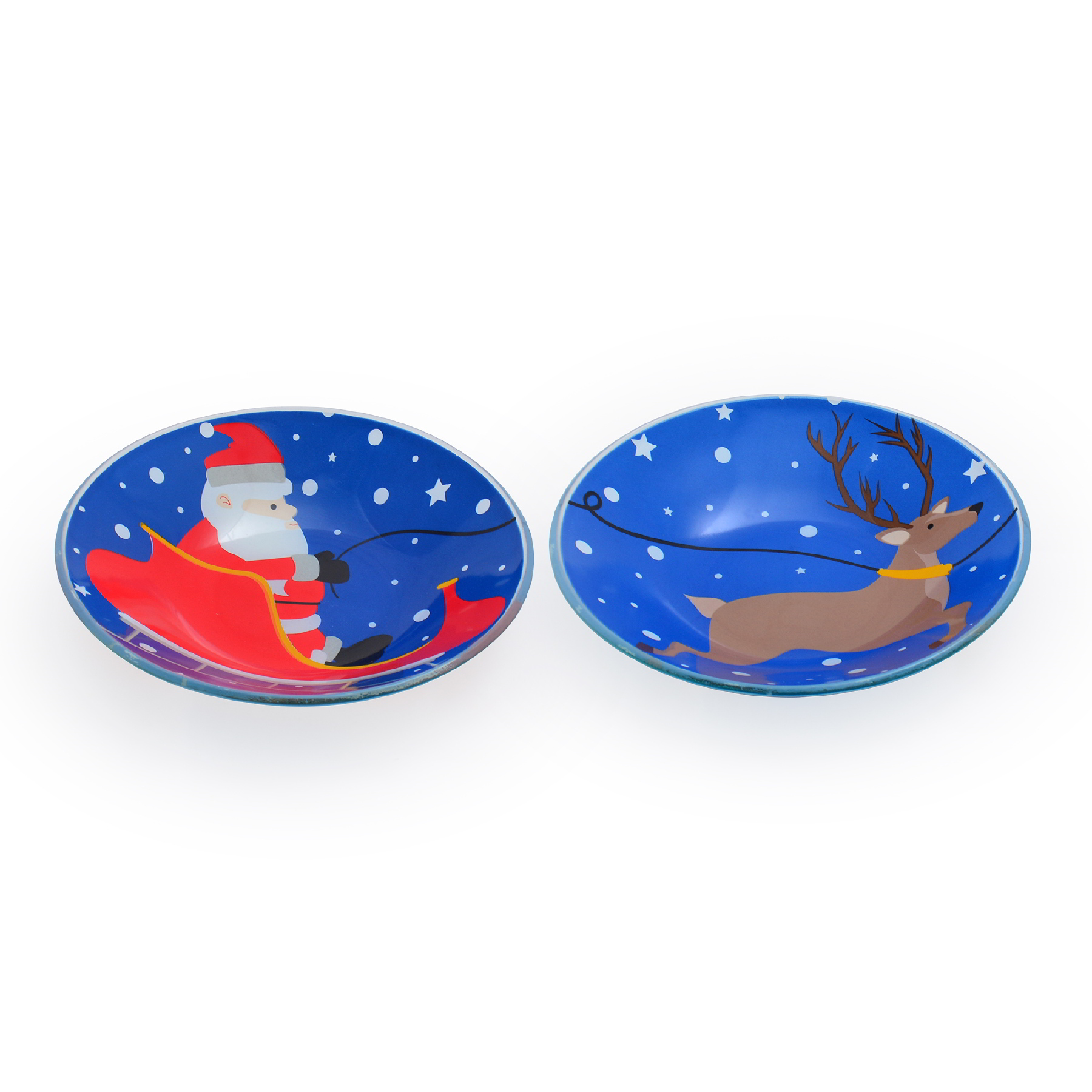Conjunto com 02 Bowls Fundo Papai Noel e Rena