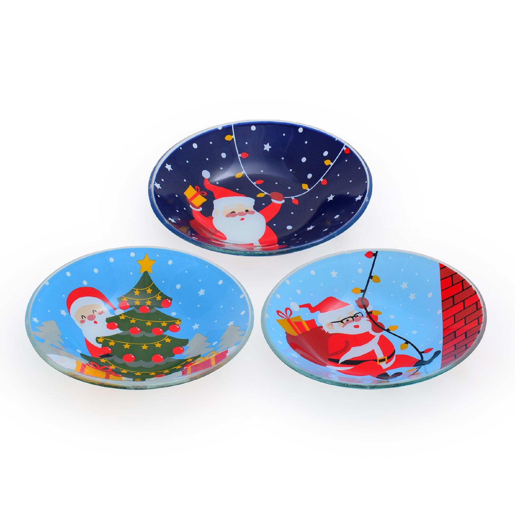 Conjunto com 03 Bowls Fundo Papai Noel