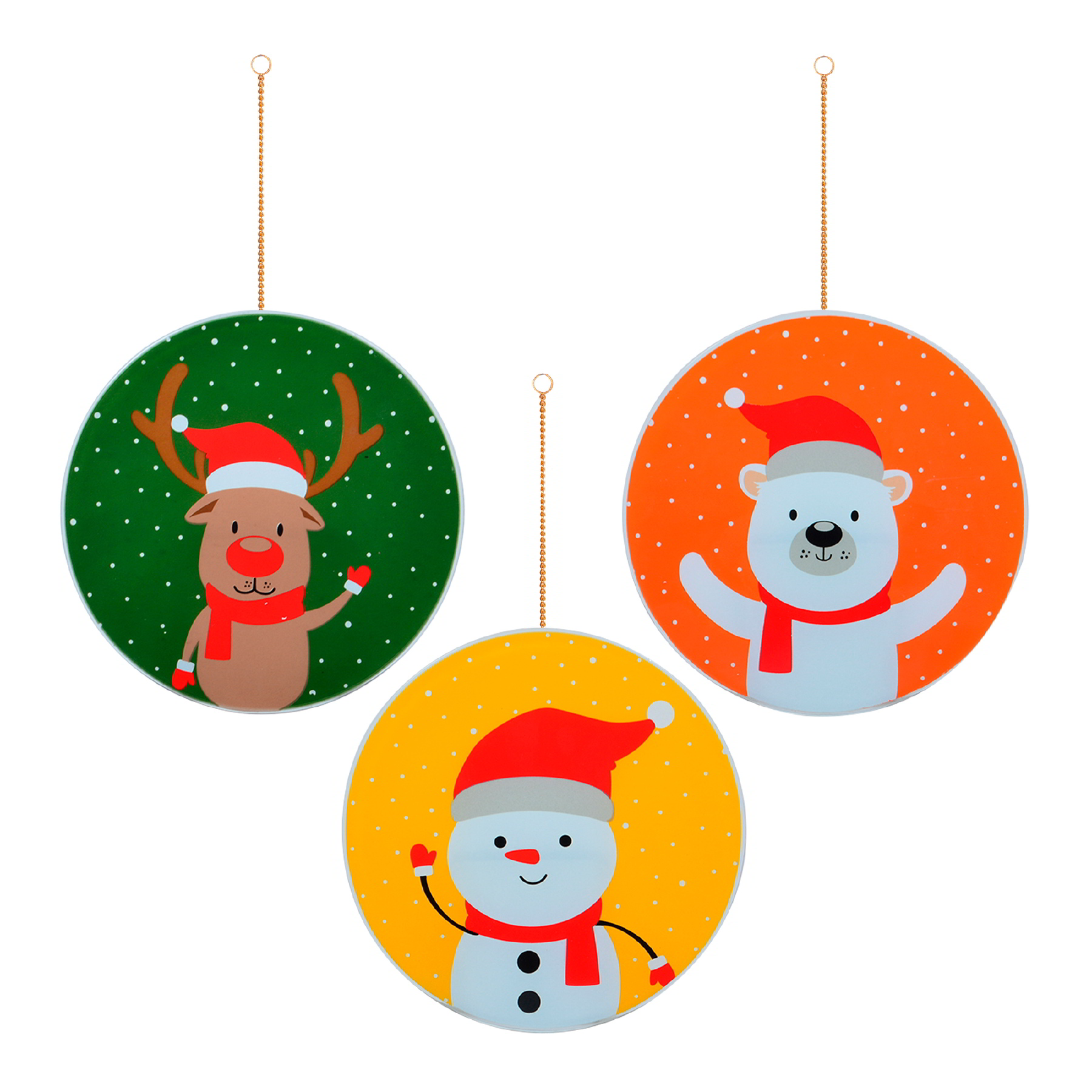 Trio de Guirlandas Animais do Natal