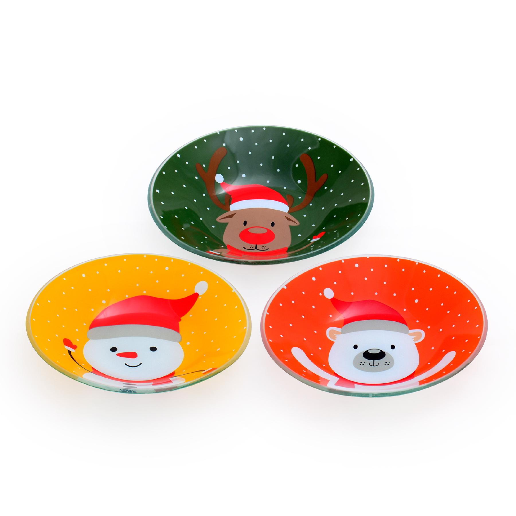 Conjunto com 03 Bowls Fundo Animais do Natal