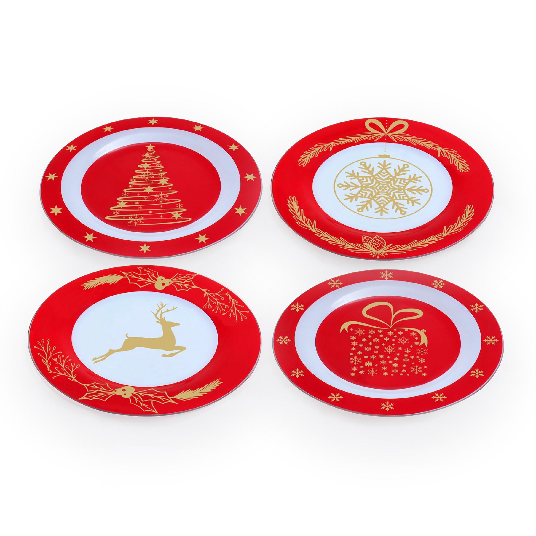 Conjunto 04 pratos de sobremesa Natal
