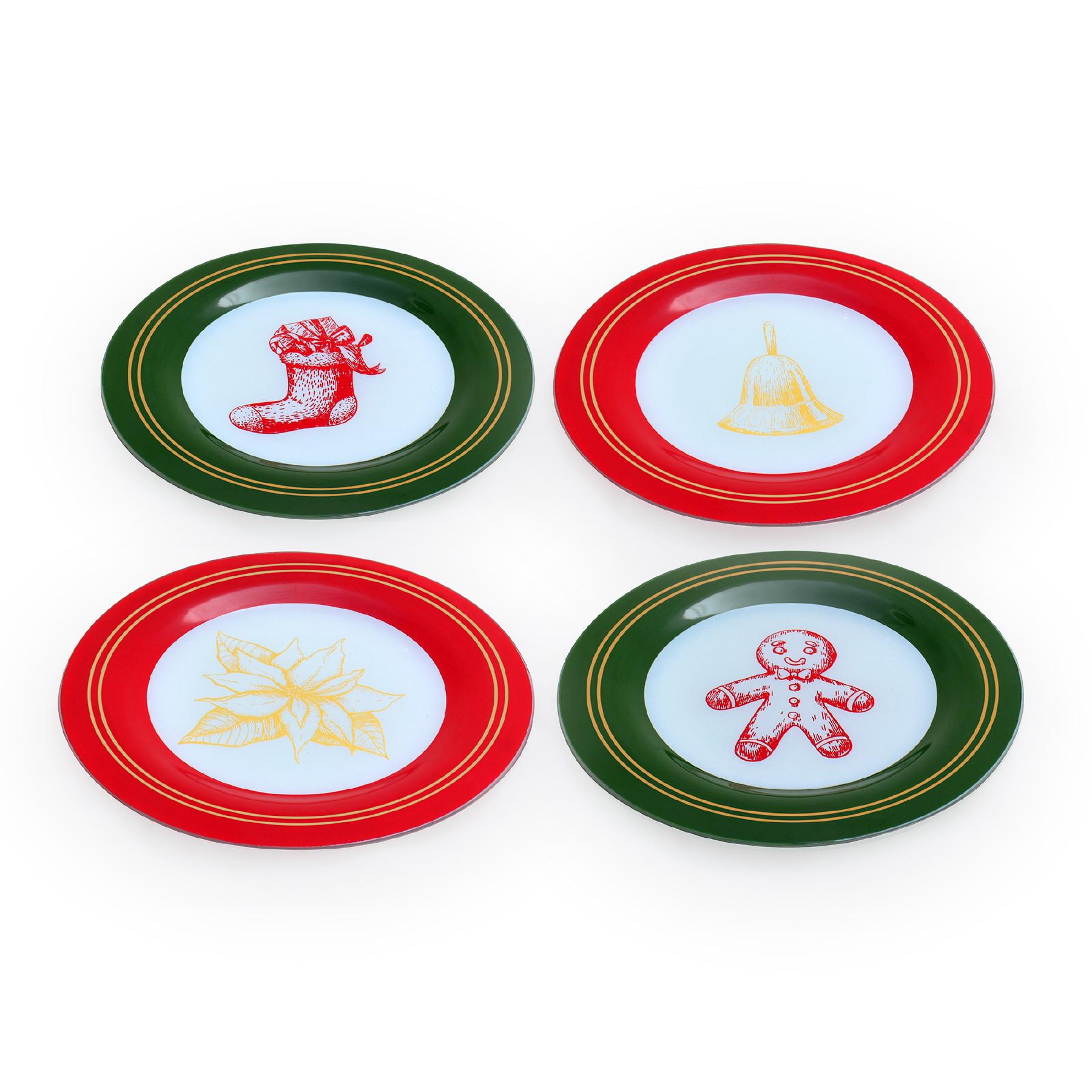 Conjunto 04 pratos de sobremesa Natal Pattern