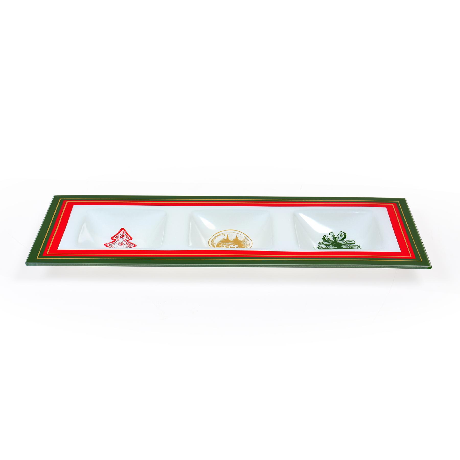 Petisqueira de vidro com 03 divisórias Natal Pattern