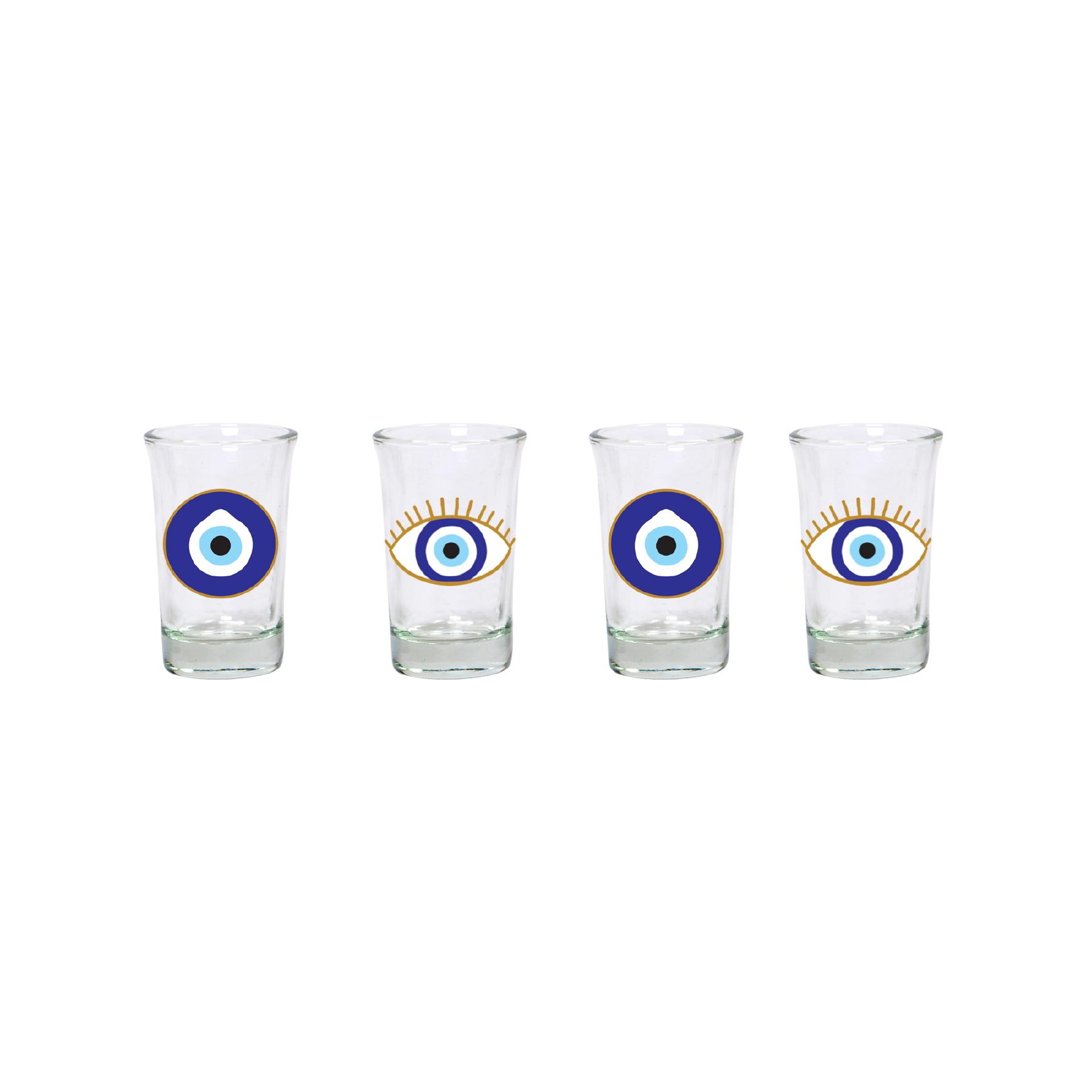 Conjunto com 04 copos para Shot Olho Grego