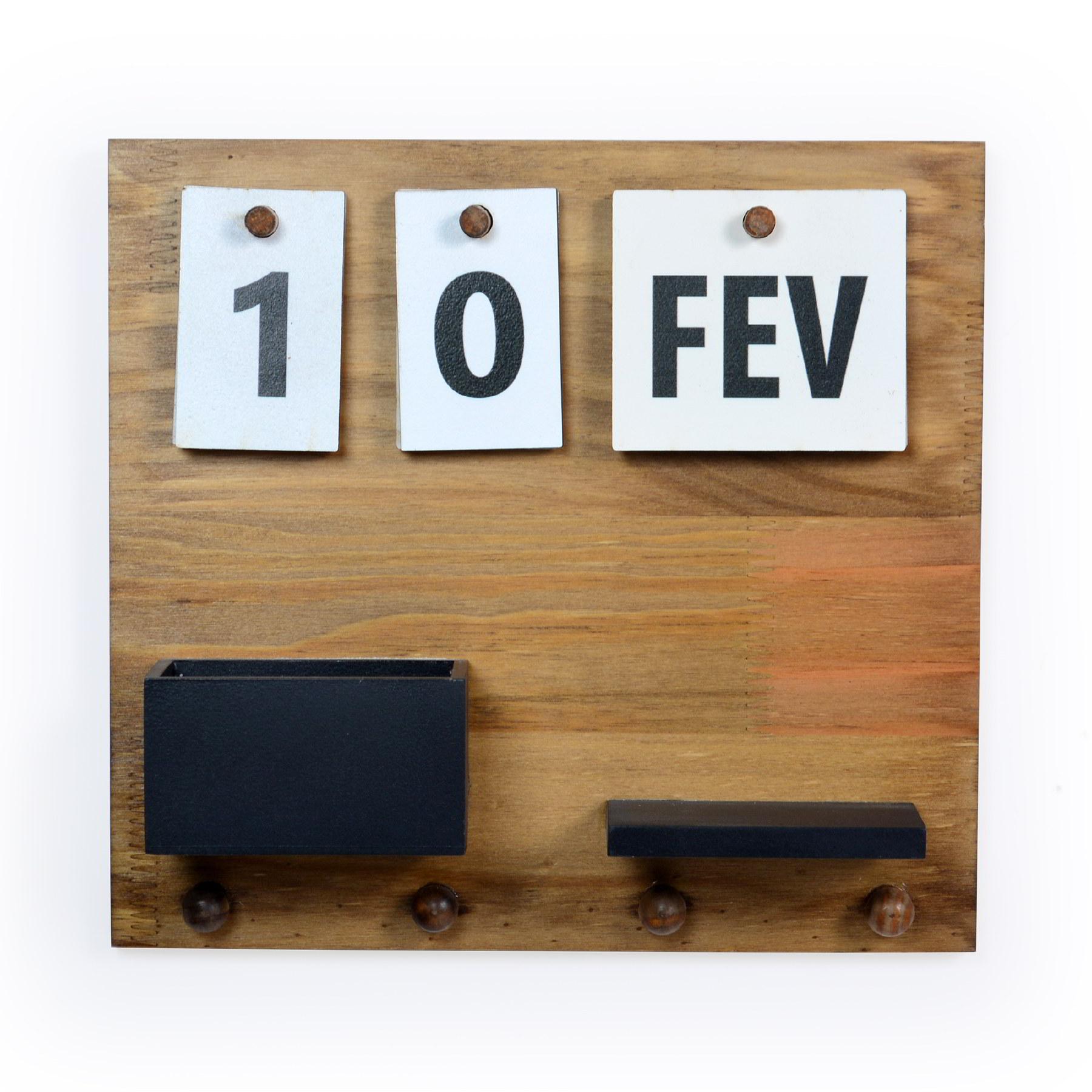 Porta chave de madeira com calendário e cachepot