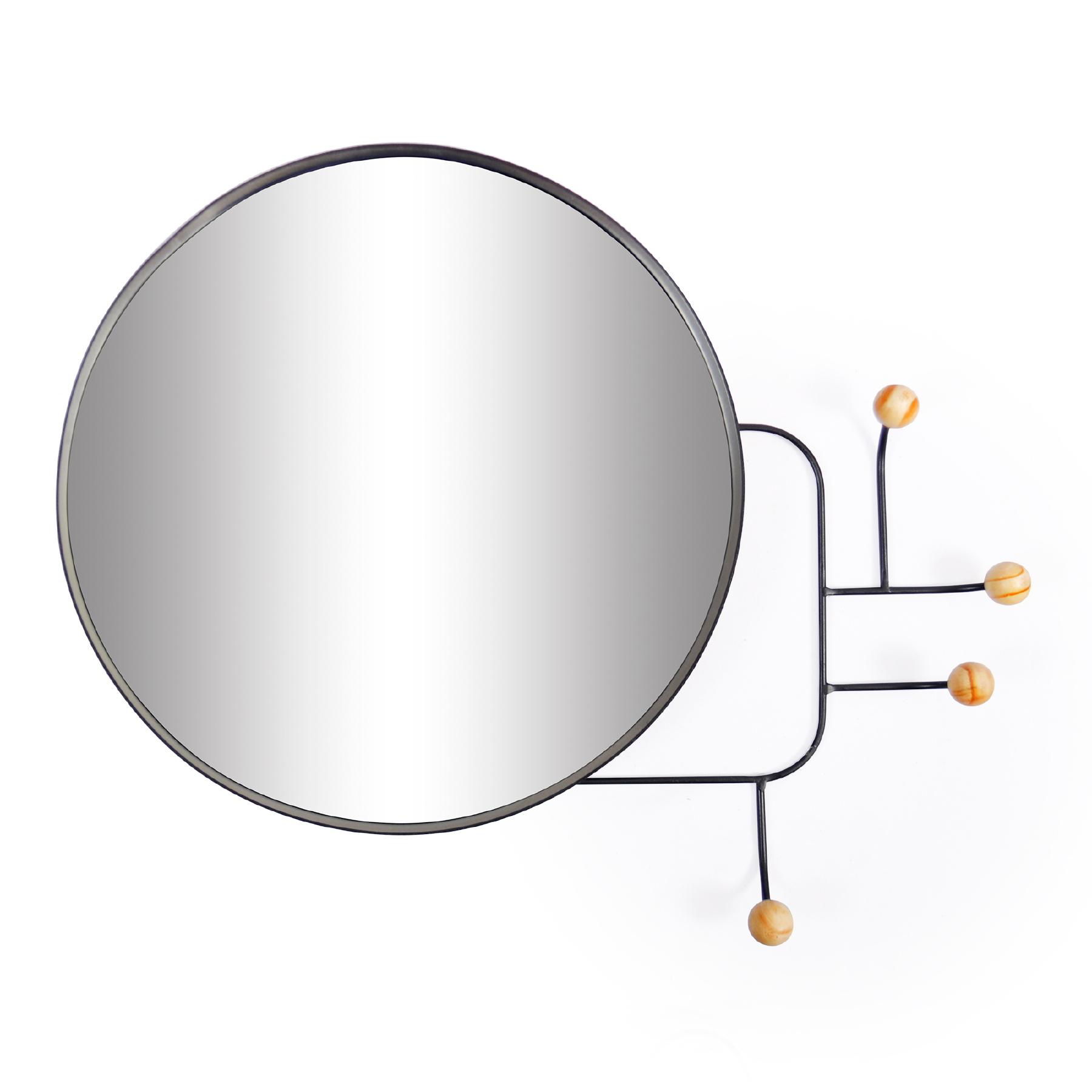 Espelho redondo com Cabideiro