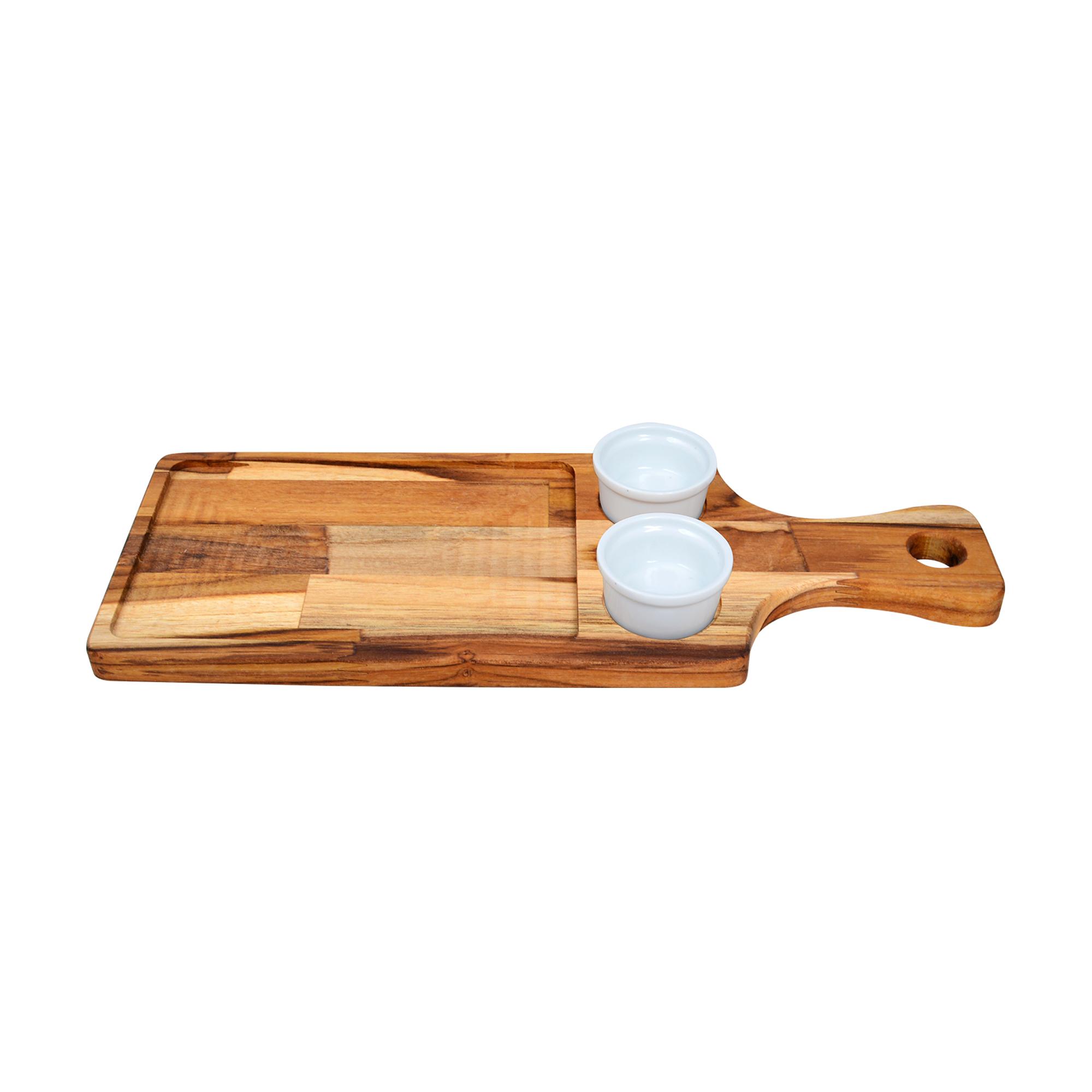 Tábua de madeira teca com 02 molheiras de cerâmica 40 ml