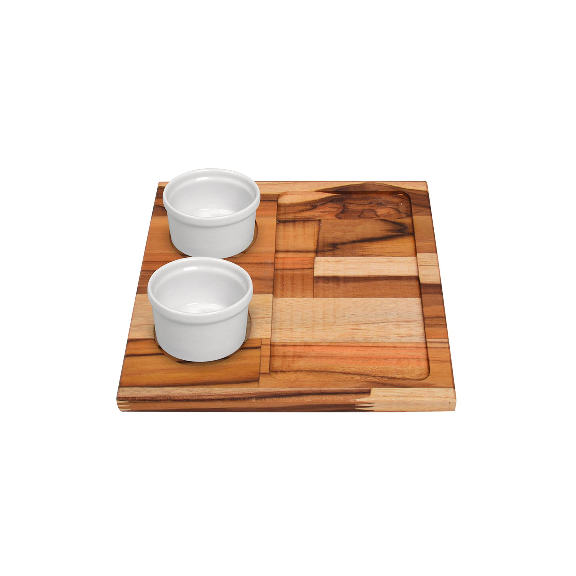 Tábua de madeira Teca com 02 molheiras 75 ml