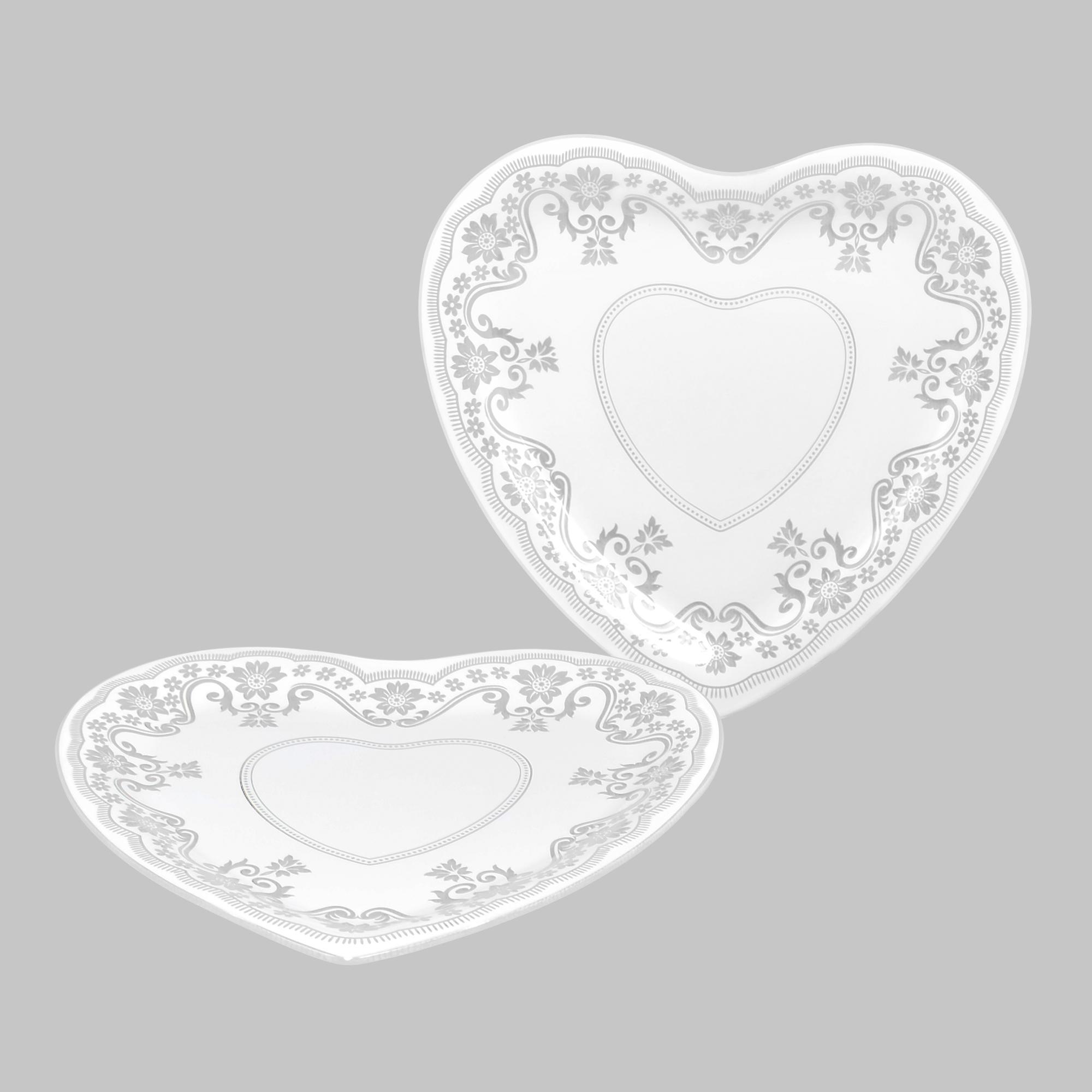 Conjunto 02 pratos grande Coração Renda