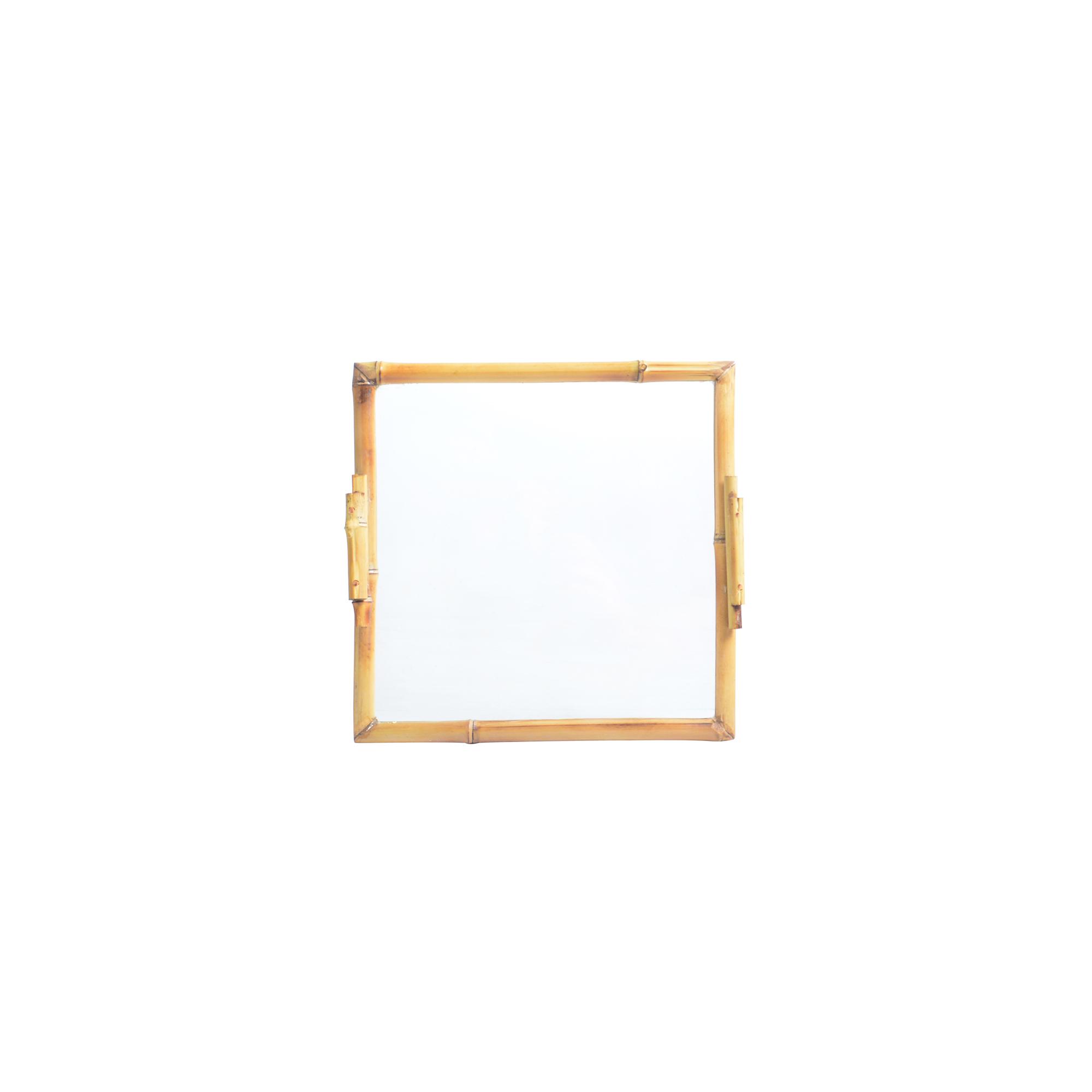 Bandeja de Bambu com vidro quadrada M lisa