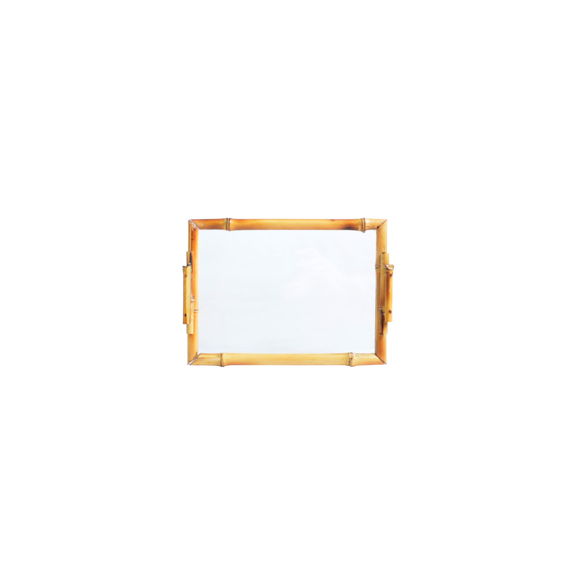 Bandeja de bambu com vidro retangular PP lisa