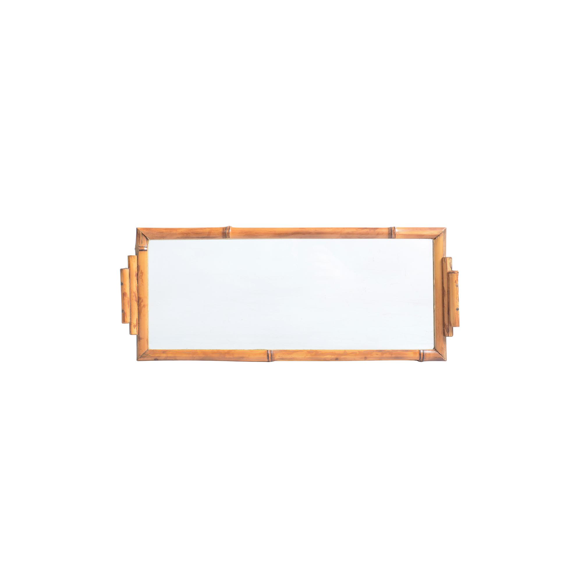 Bandeja de bambu com vidro retangular P lisa