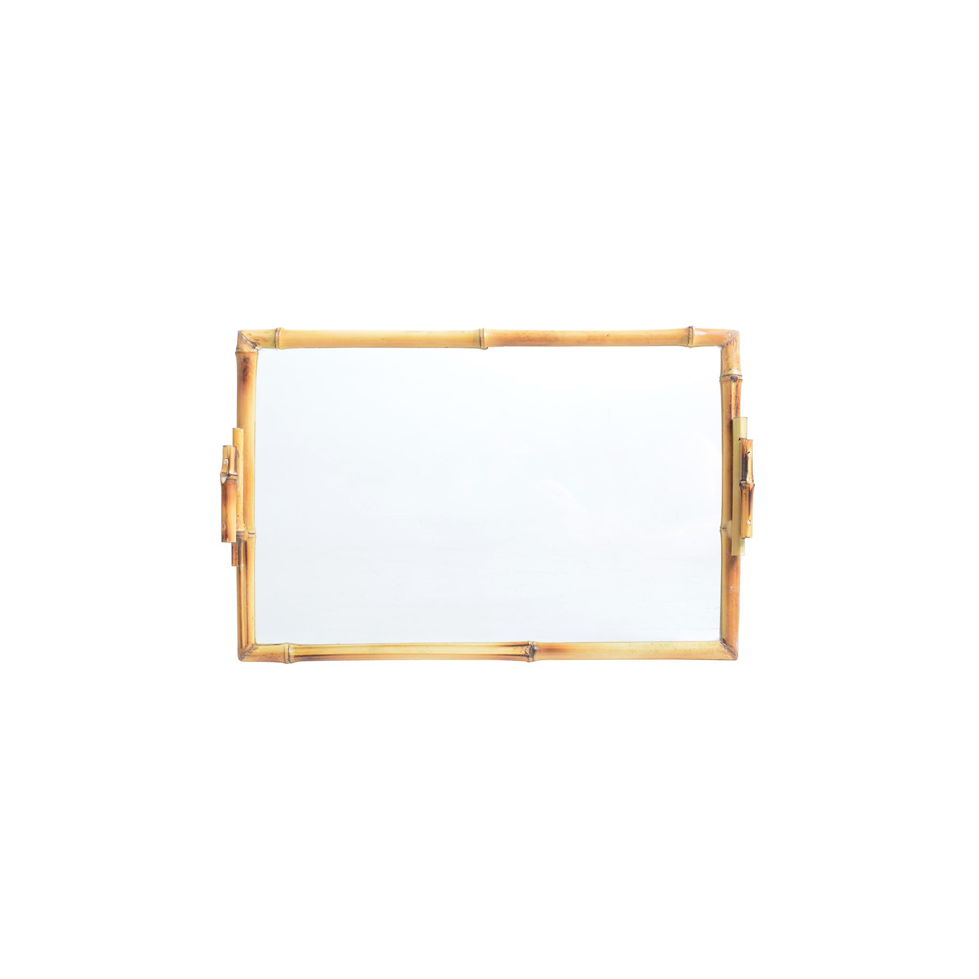 Bandeja de bambu com vidro retangular M lisa