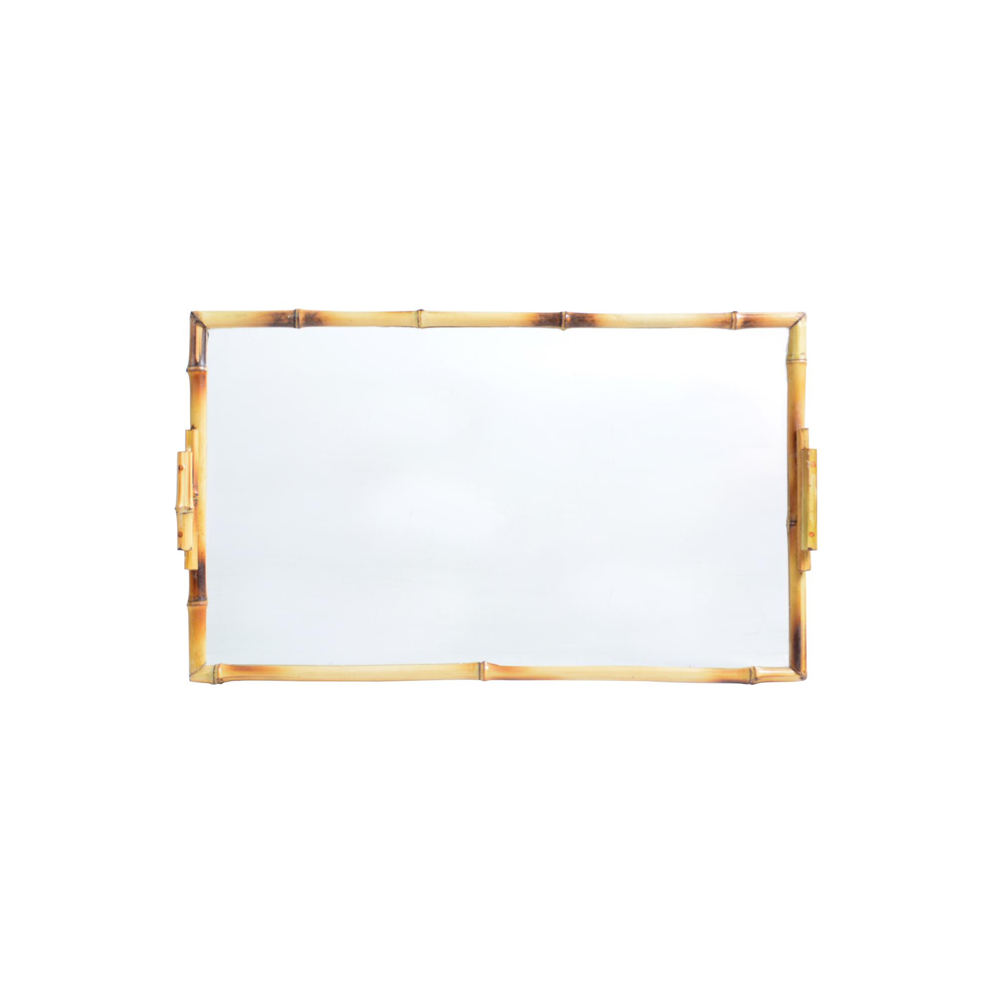 Bandeja de Bambu com vidro retangular GG lisa