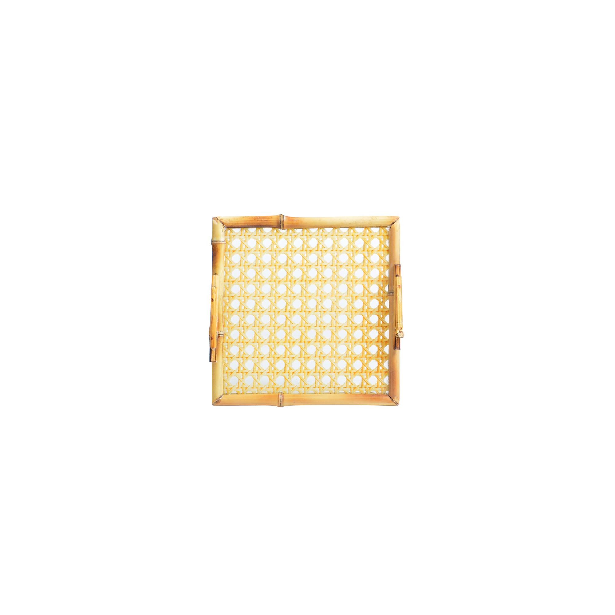 Bandeja de bambu com vidro quadrada P palha indiana