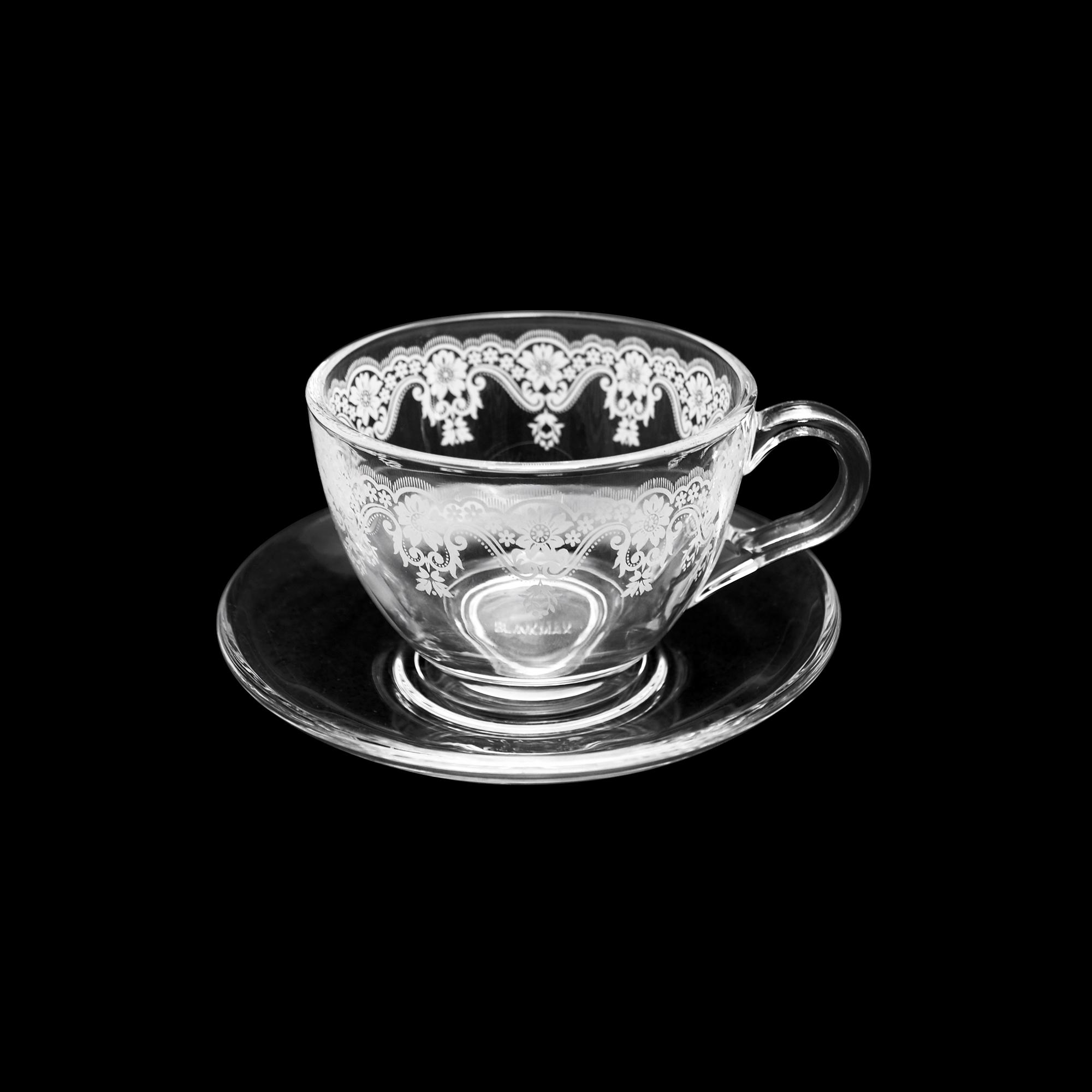Xícara de chá decorada com pires liso 200 ml