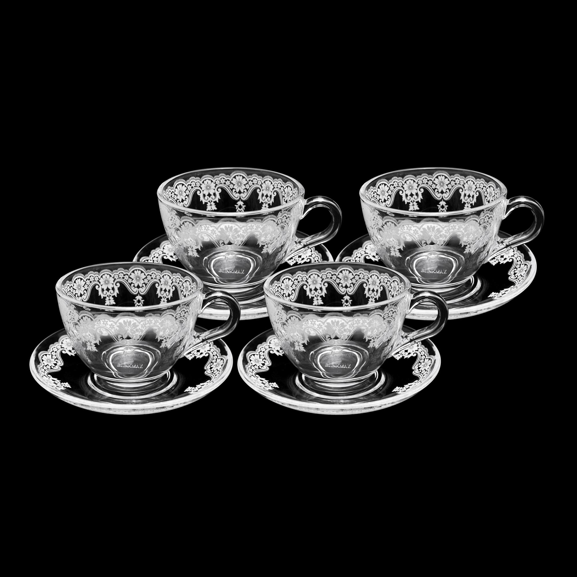 Conjunto 04 xícaras de chá decorada com pires decorado 200 ml