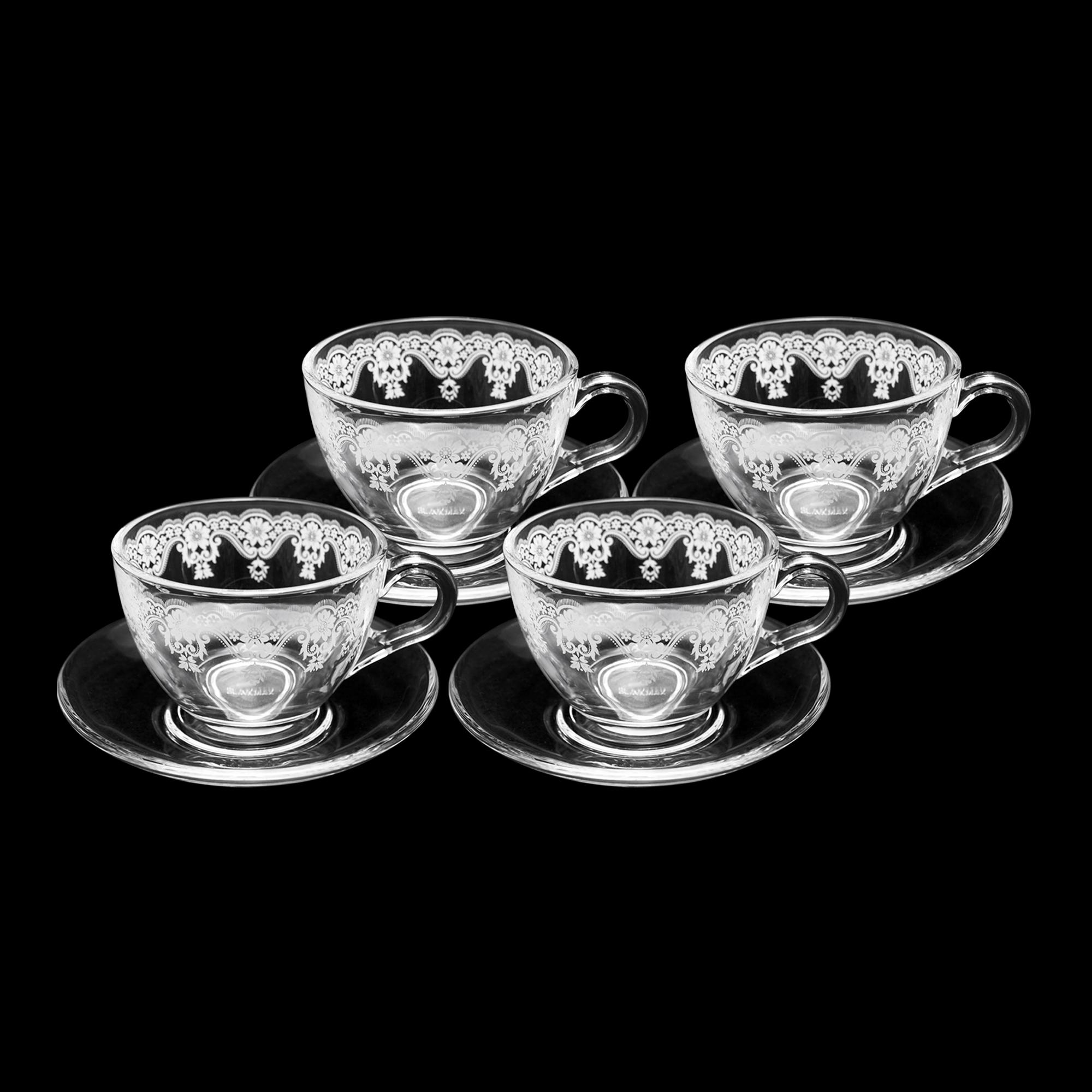 Conjunto 04 xícaras de chá decorada com pires liso 200 ml