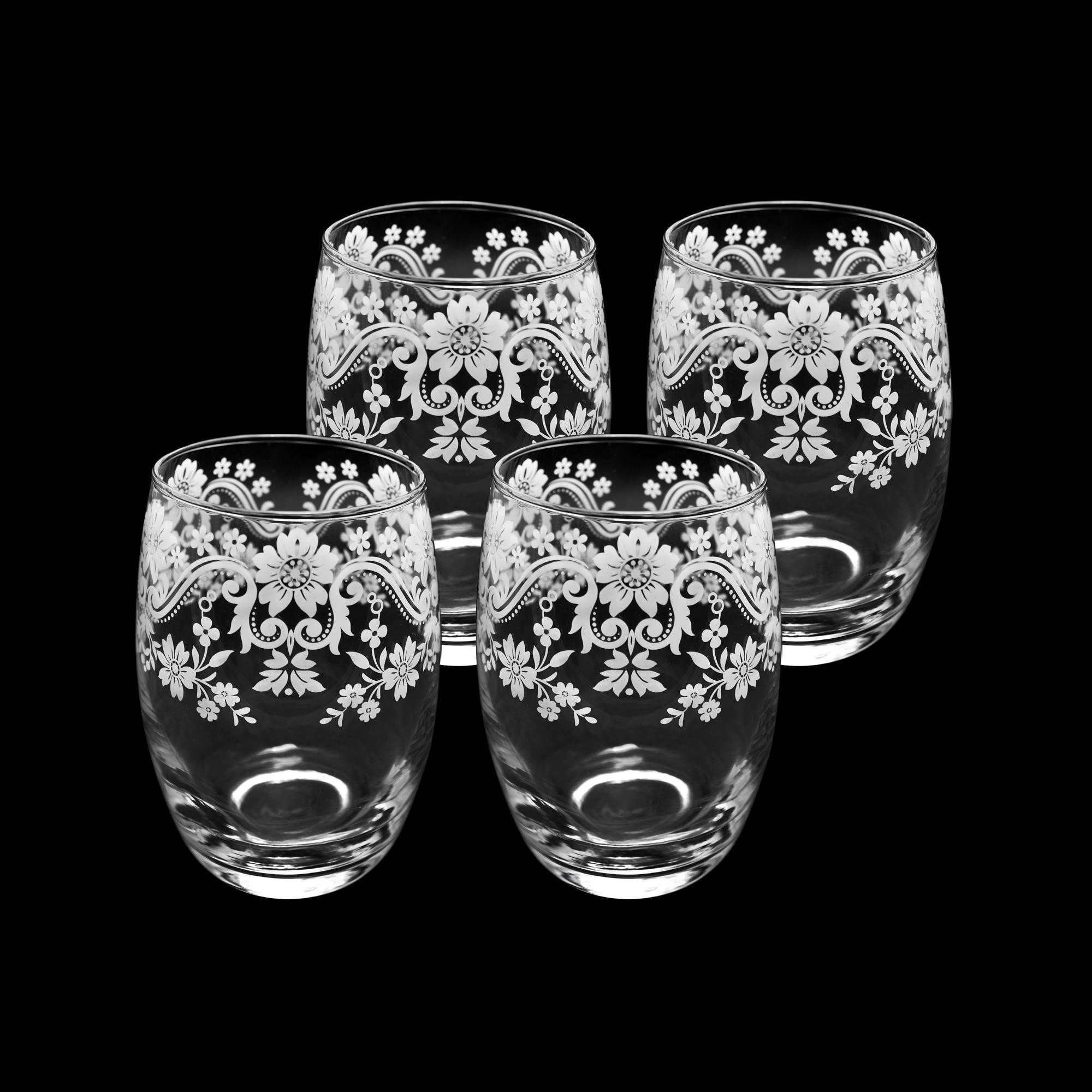 Conjunto 04 copos de vidro decorados 450 ml