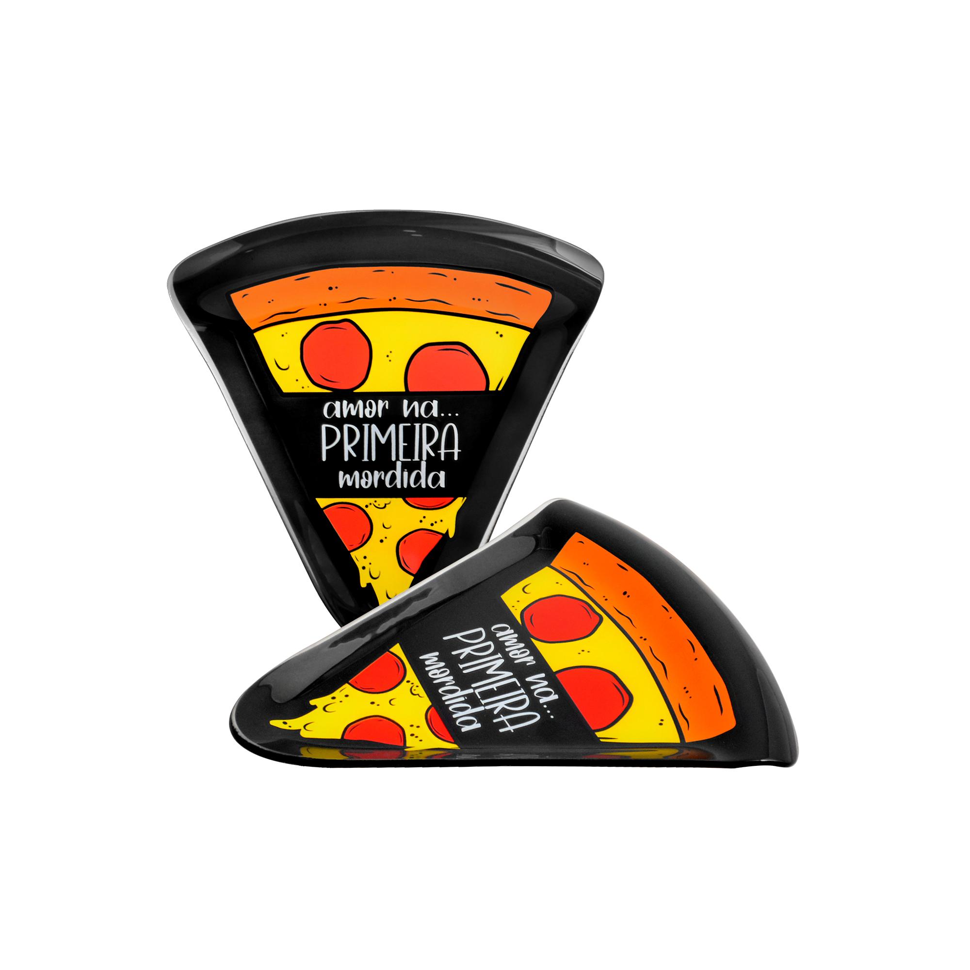 Conjunto de pratos fatia Pizza