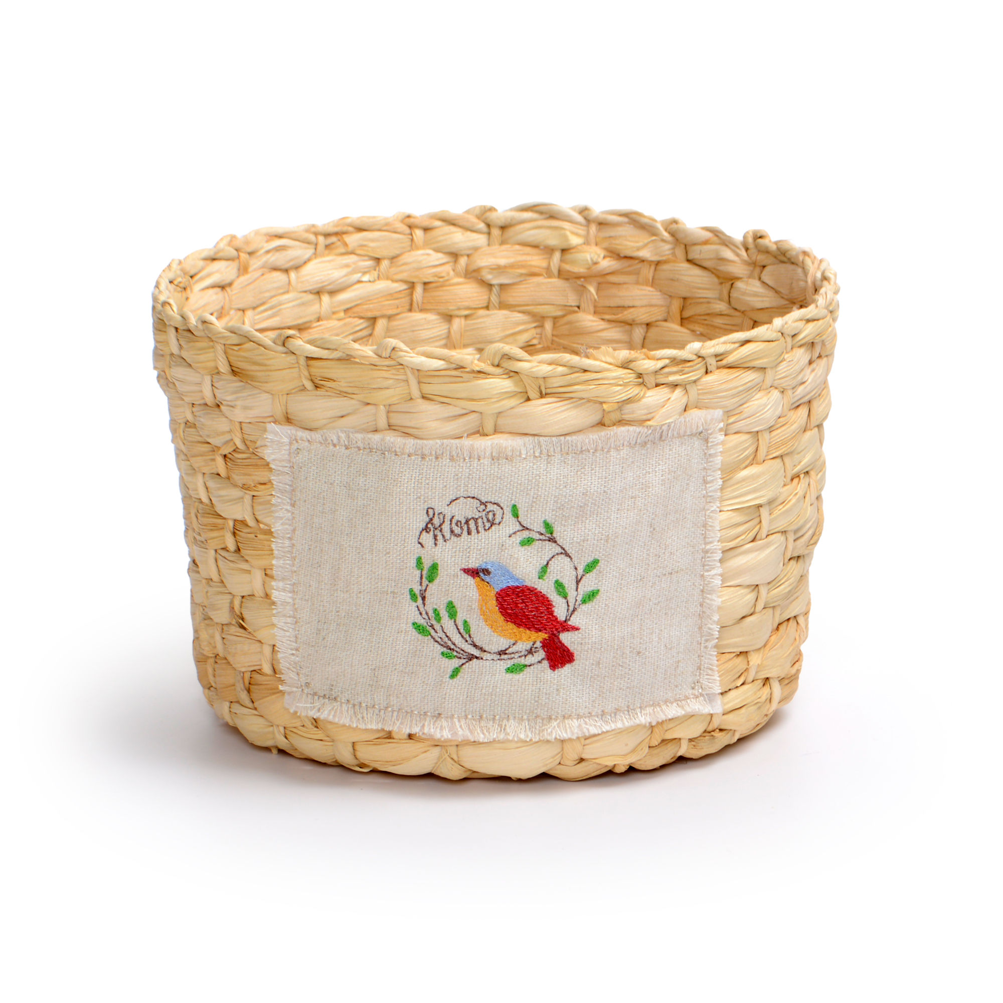 Cachepot Médio de palha natural e aplique com Bordado