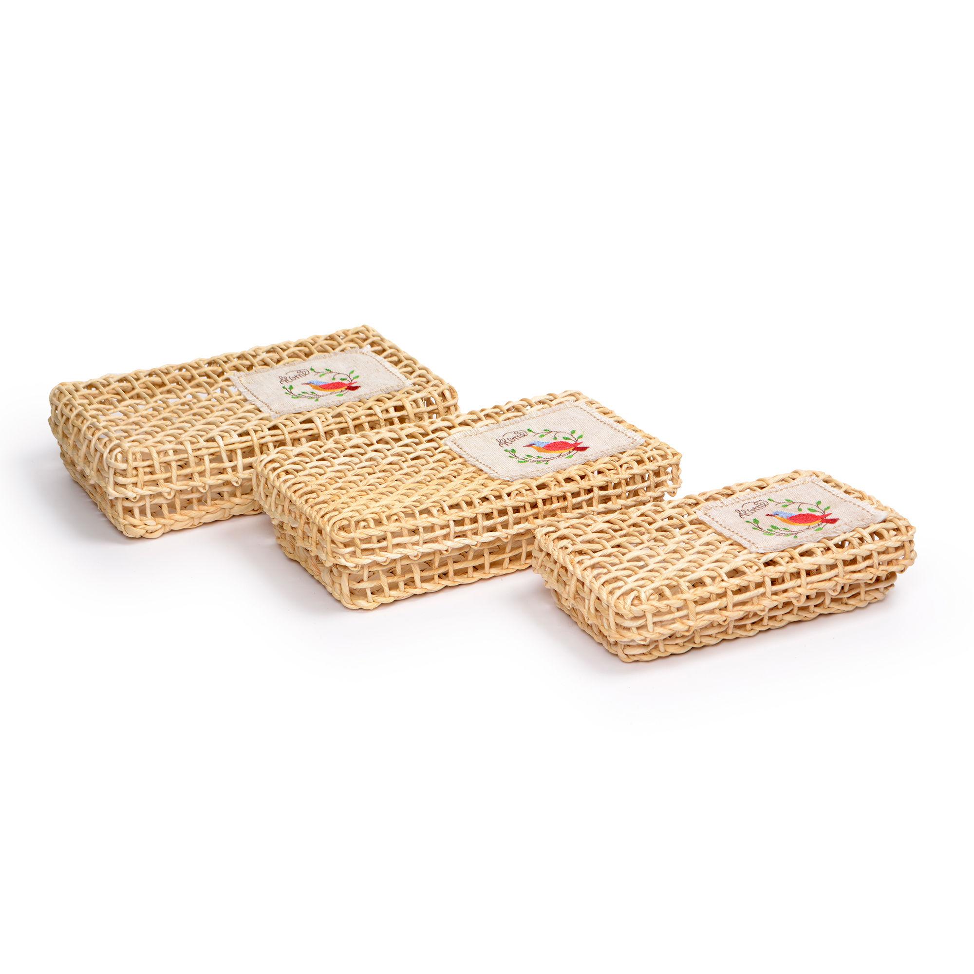 Conjunto com 03 cestas com tampa de palha Natural