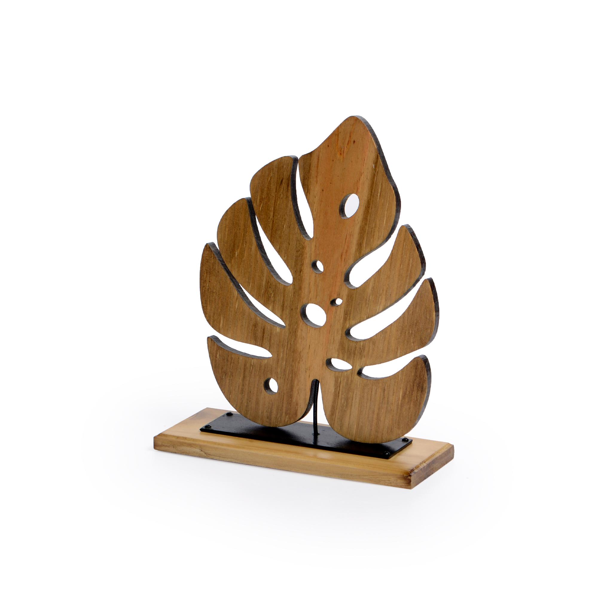 Escultura de madeira e ferro Folha