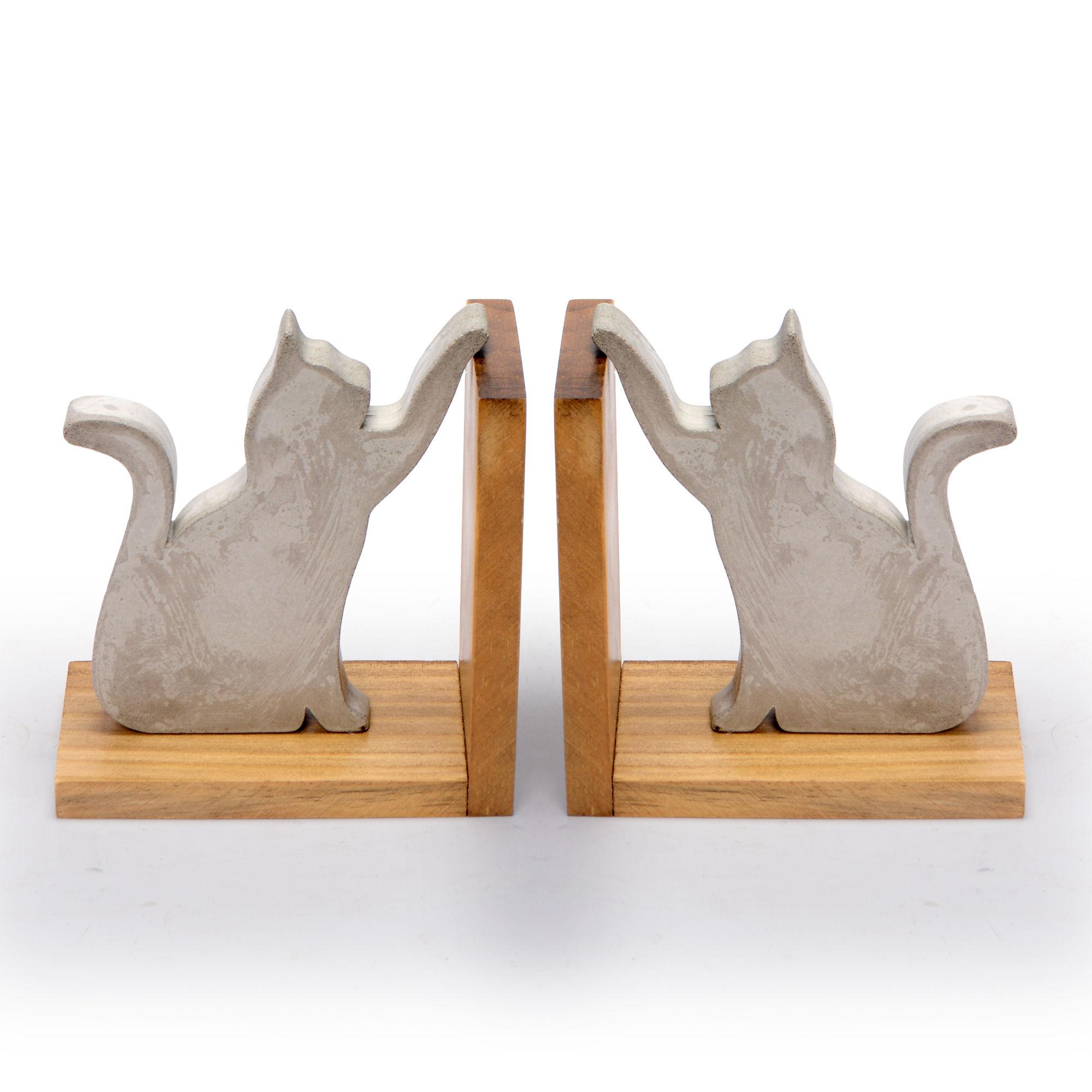 Conjunto suporte de livros de Concreto Gatos