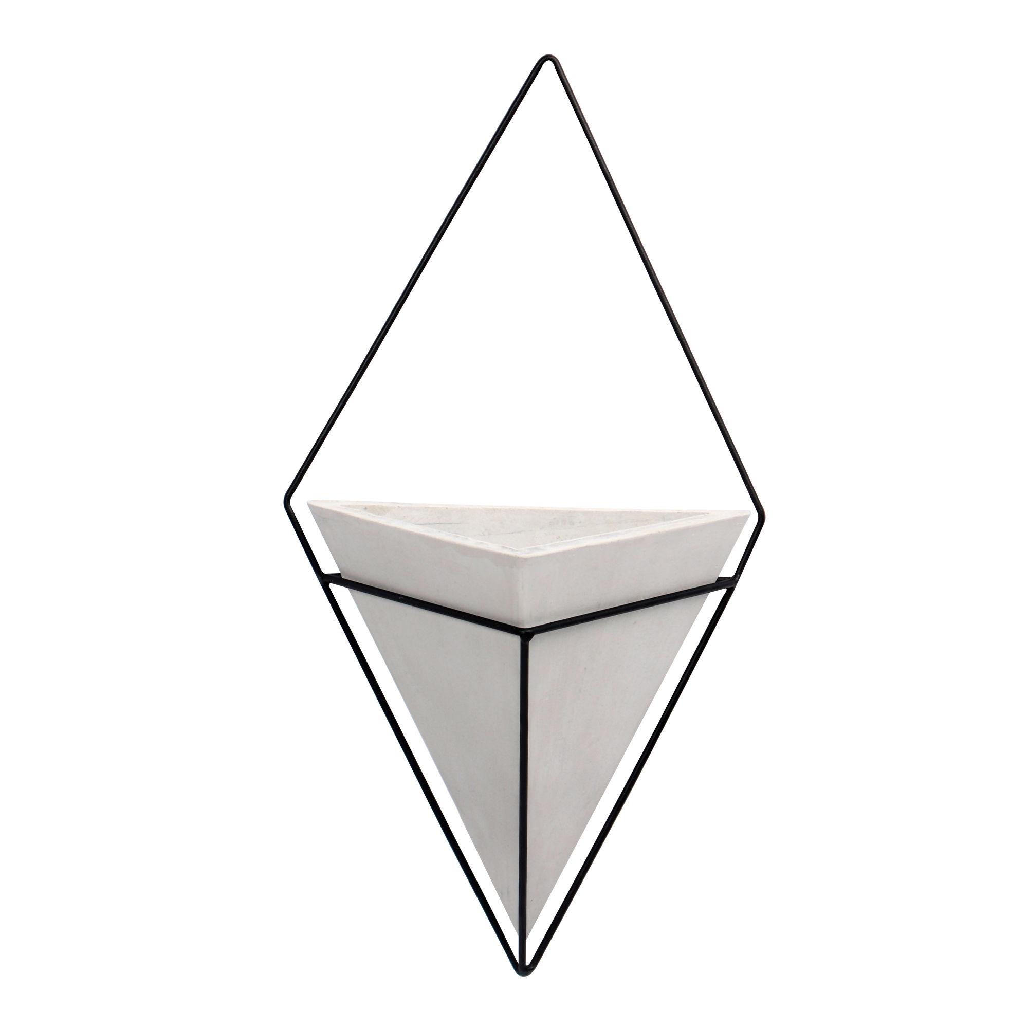 Vaso Triângular de concreto com suporte de Parede