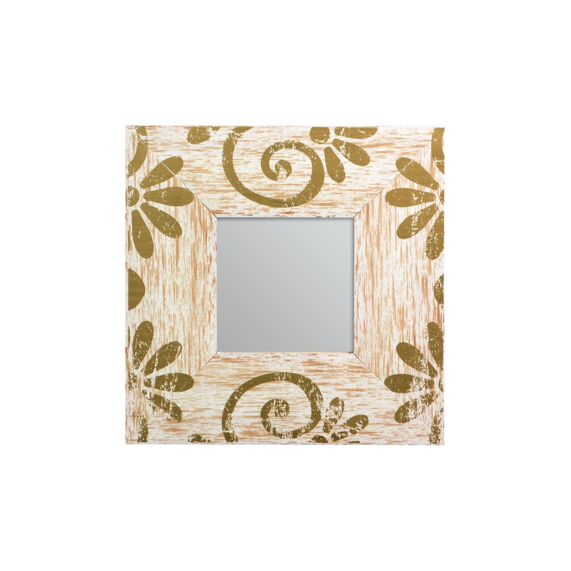 Espelho com moldura de Madeira e Arabesco Dourado