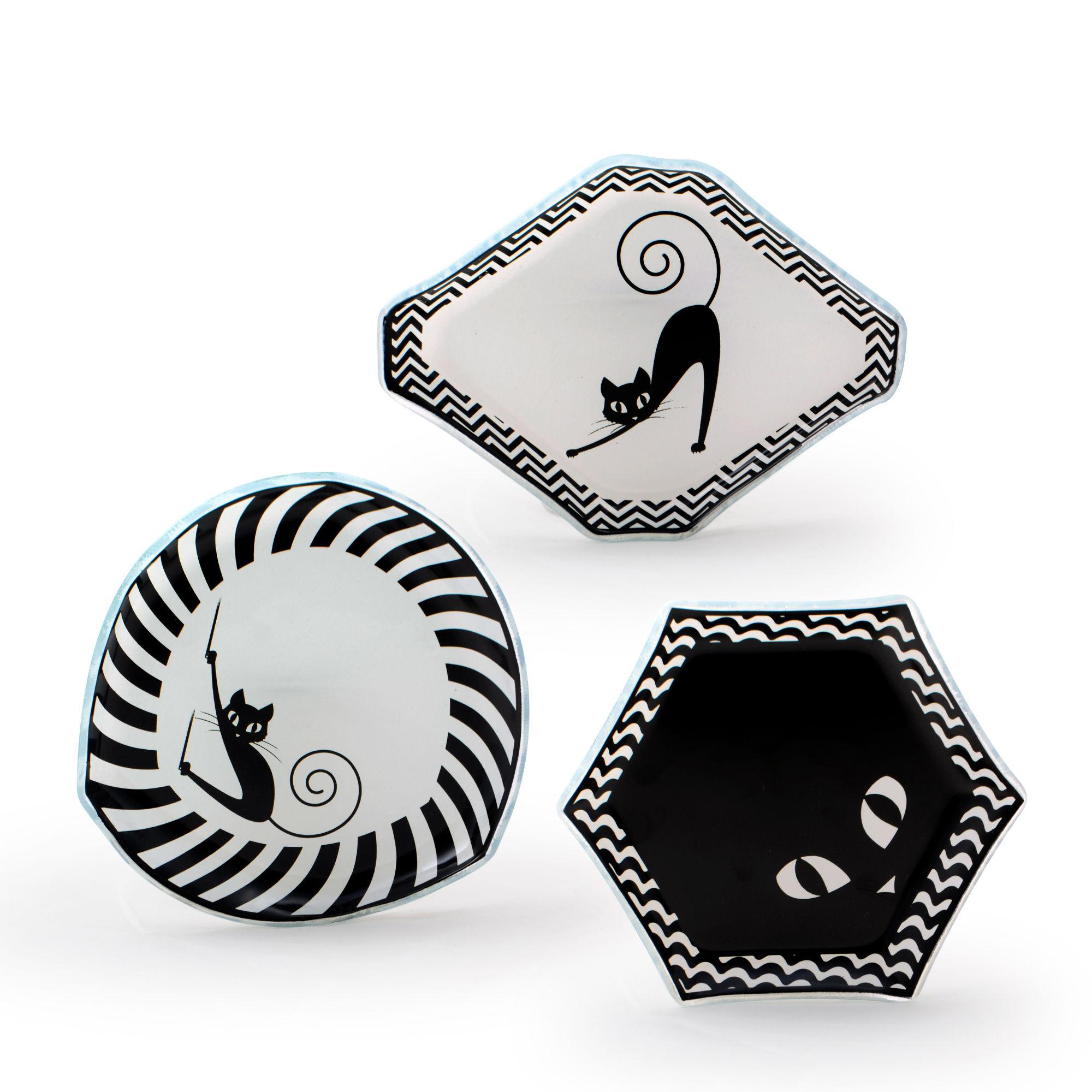 Conjunto com 03 mini pratos Geométricos Gato Preto