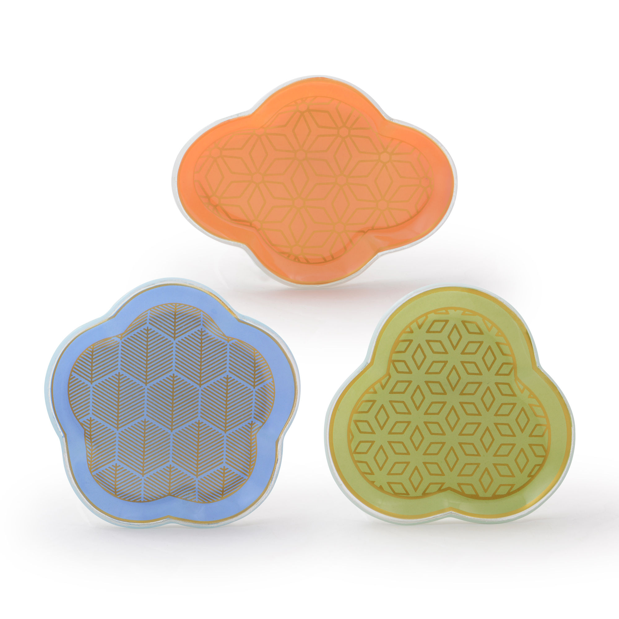 Conjunto com 03 mini pratos Geométricos Coloridos