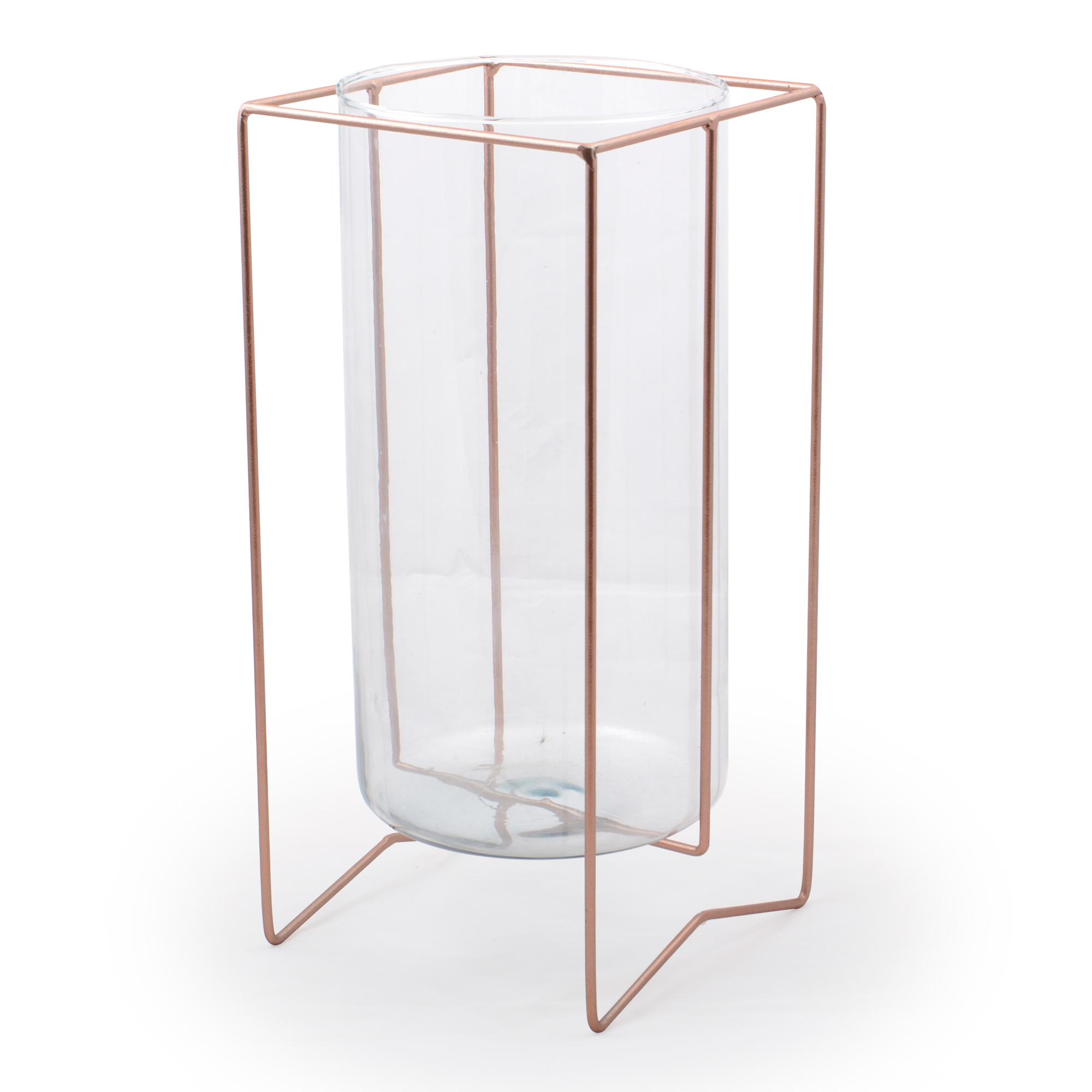 Vaso de vidro grande com suporte de Mesa