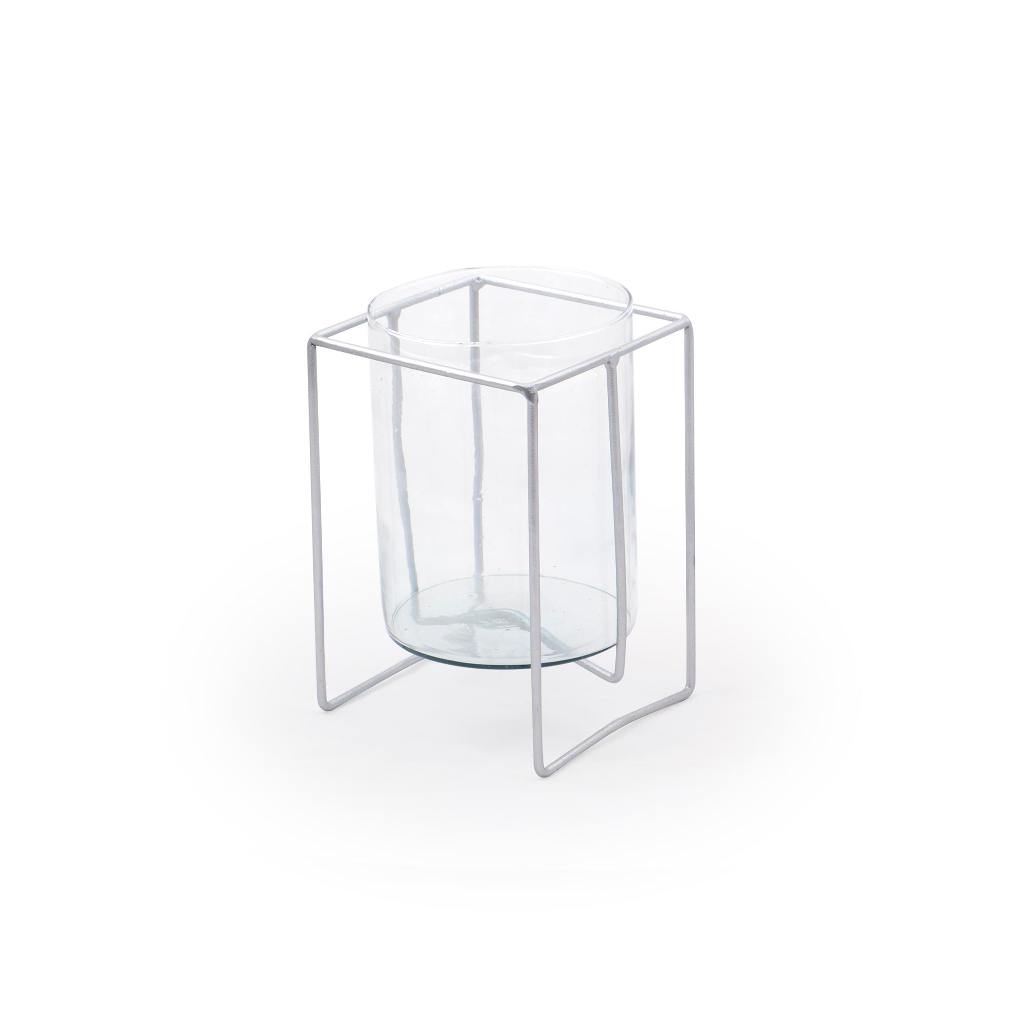 Vaso de vidro Pequeno com suporte de Mesa