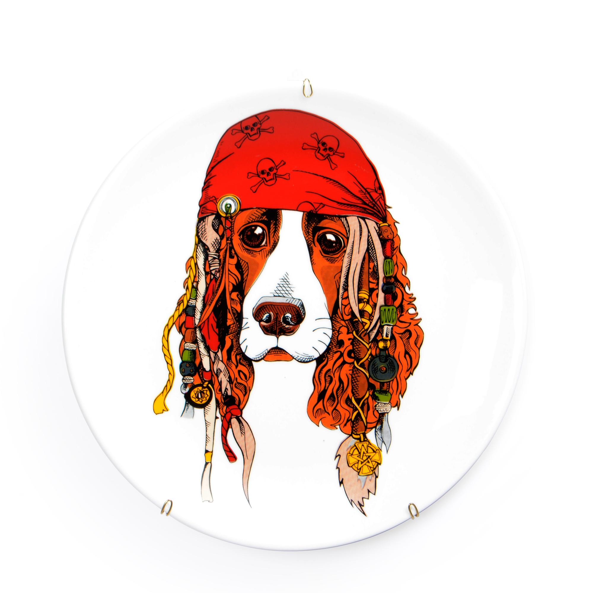 Prato de parede de porcelana Cachorro Pirata