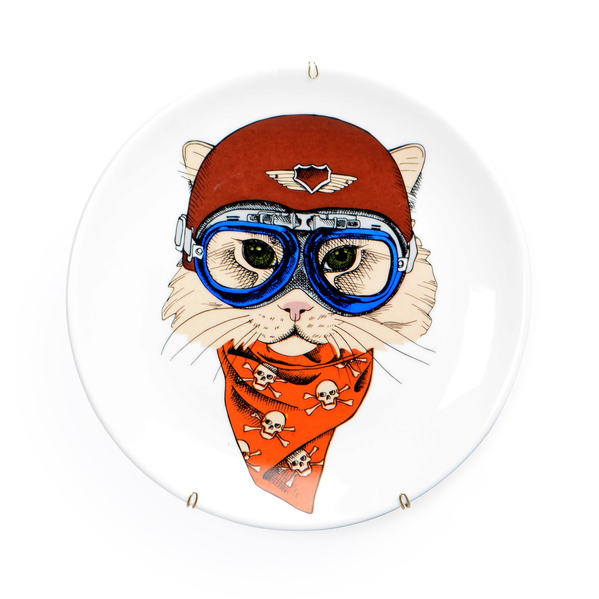 Prato de parede de porcelana Gato com Lenço