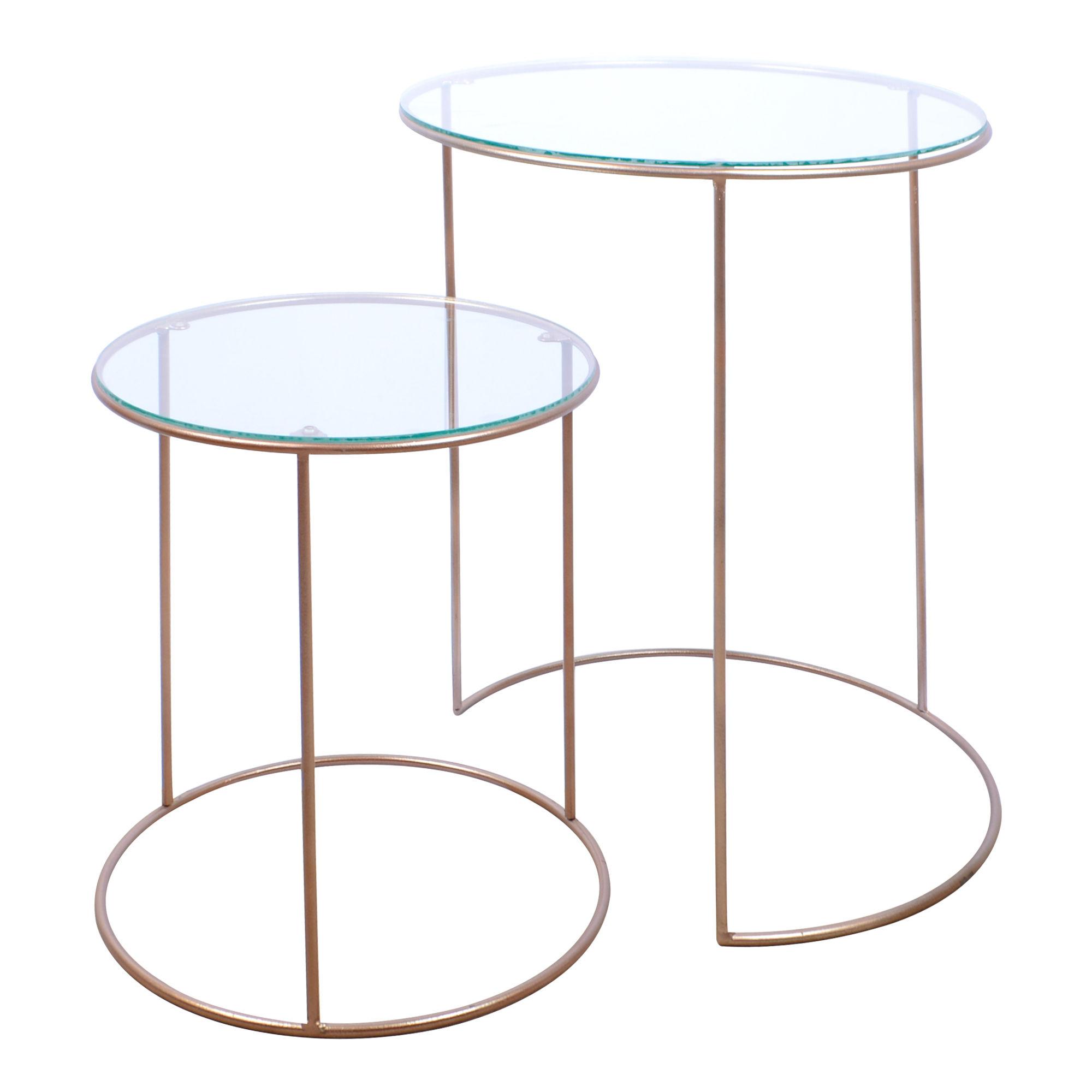 Conjunto de 02 mesas redondas de ferro Rose Gold